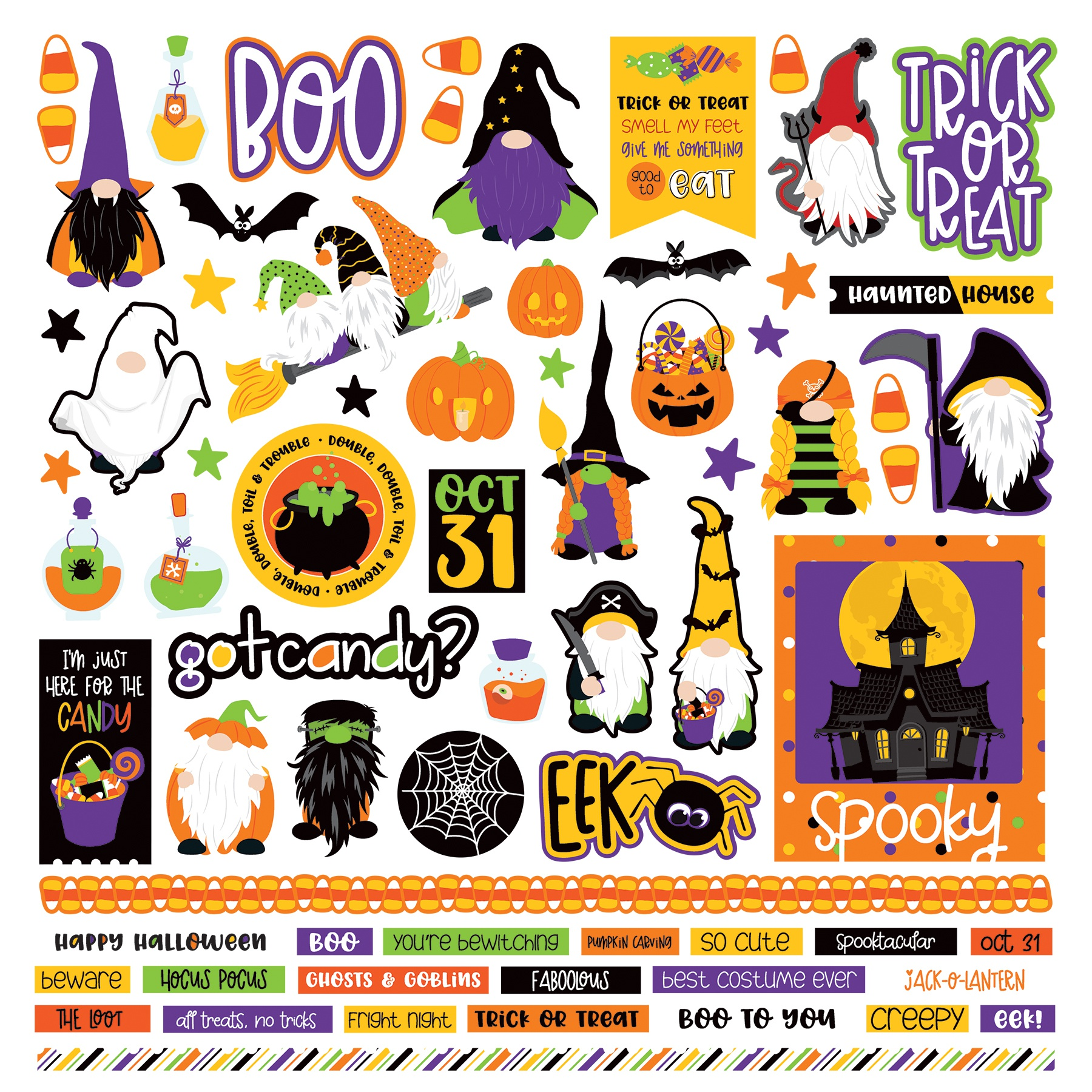 Gnome For Halloween Stickers 12X12-Elements