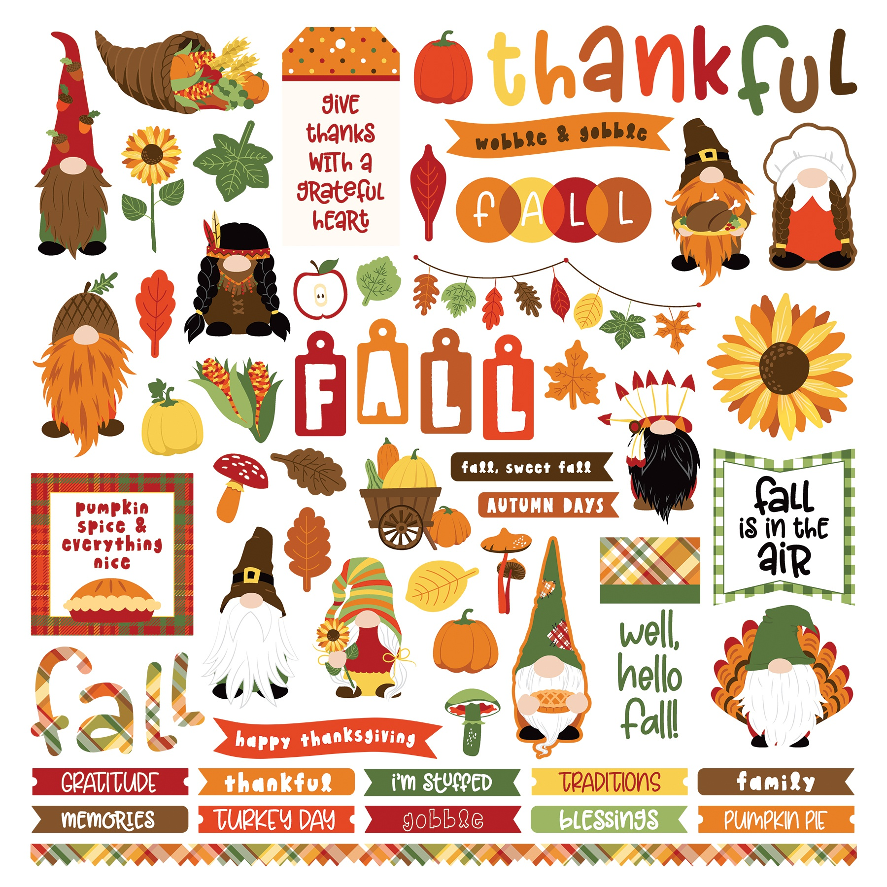 Gnome Holidays - Thanksgiving Stickers