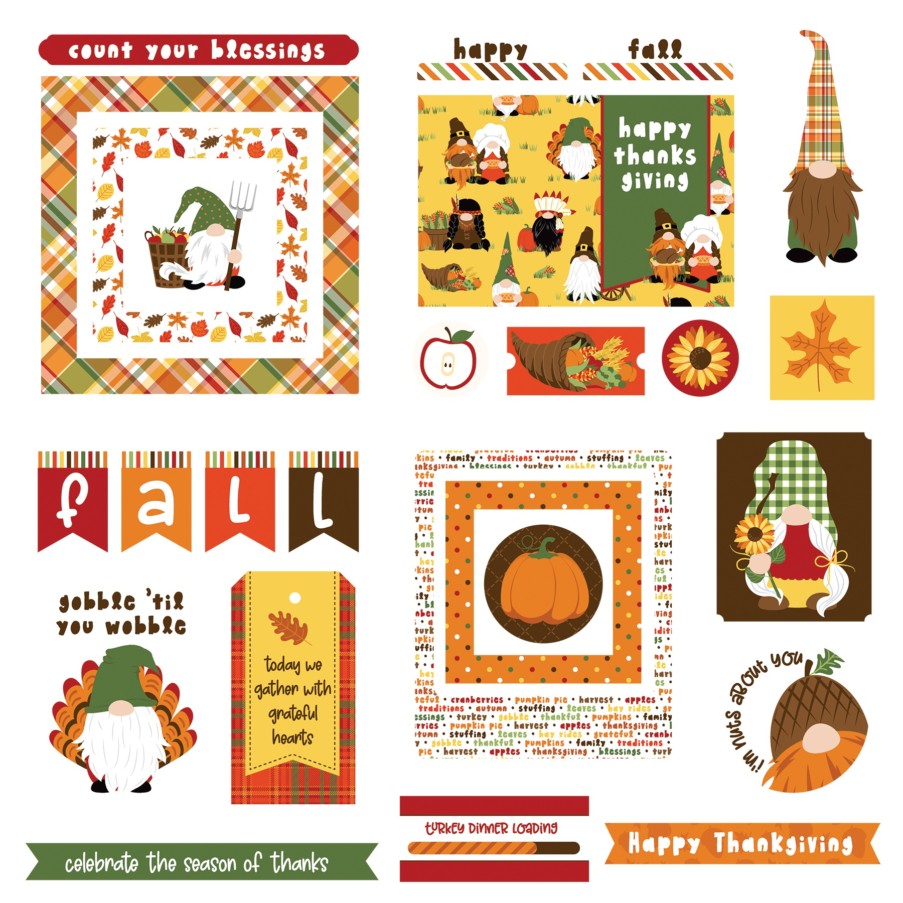 Gnome For Thanksgiving Ephemera Cardstock Die-Cuts-