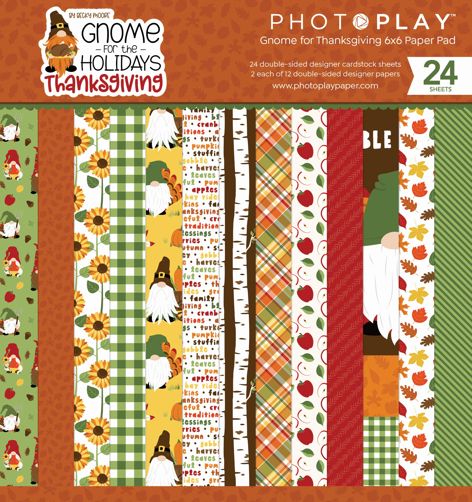 Gnome For Thanksgiving PhotoPlay Double-Sided Paper Pad 6X6 24/Pkg-