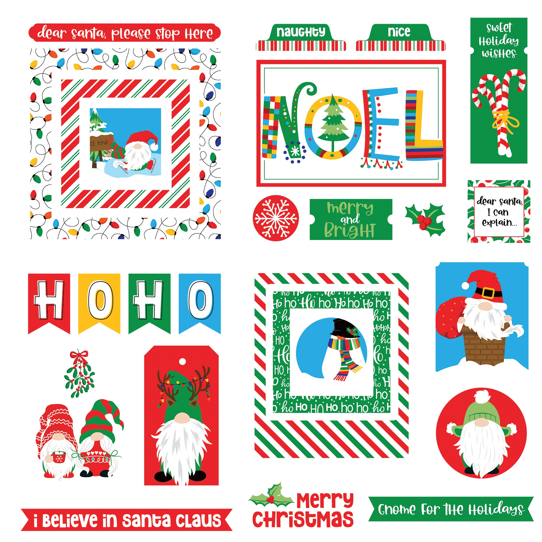 Gnome For Christmas Ephemera Cardstock Die-Cuts-