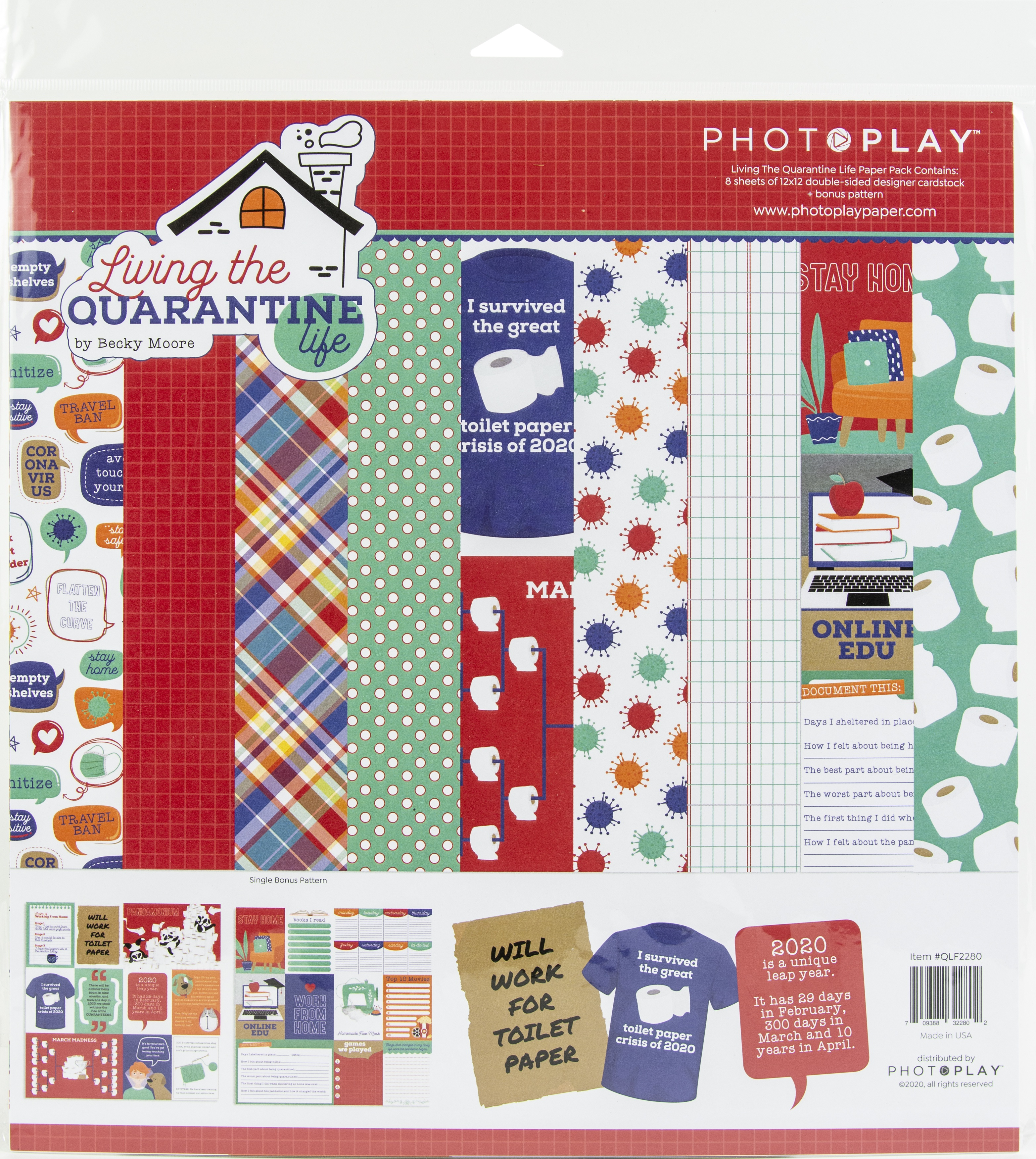 PhotoPlay Collection Pack 12X12-Living The Quarantine Life, 4 Des/2 Ea