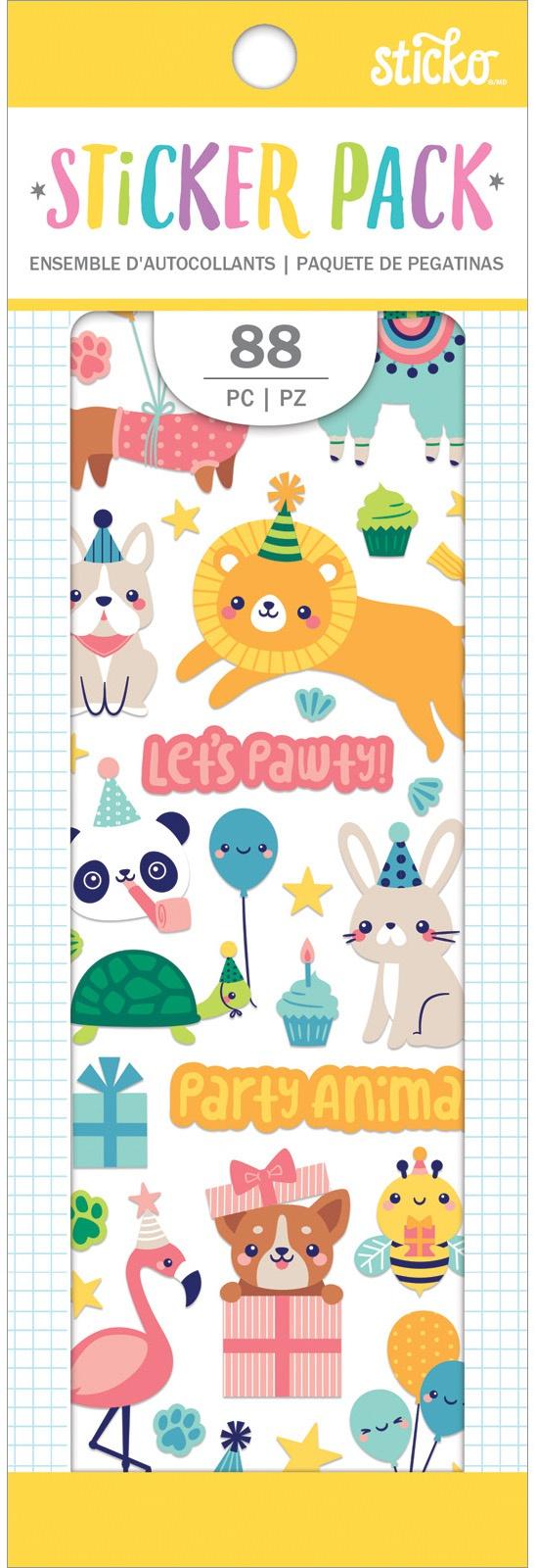 Sticko Sticker Pack-Party Animal, 88/Pkg