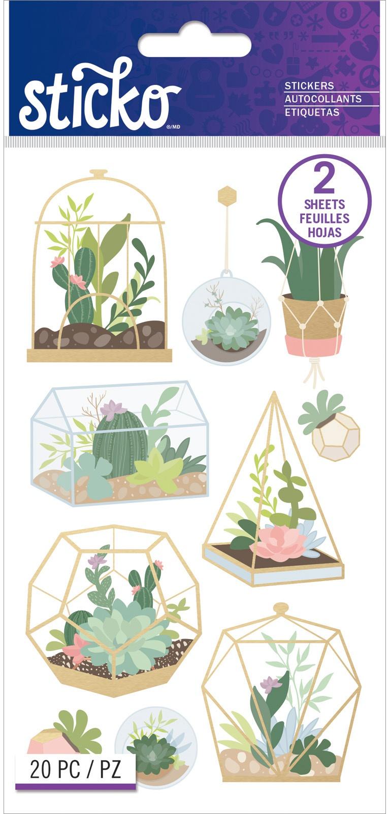 Sticko Flat Stickers-Succulent Terrarium, 20/Pkg