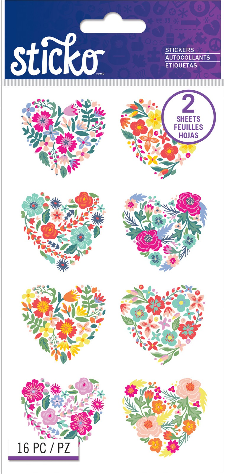 Sticko Flat Stickers-Floral Hearts, 16/Pkg