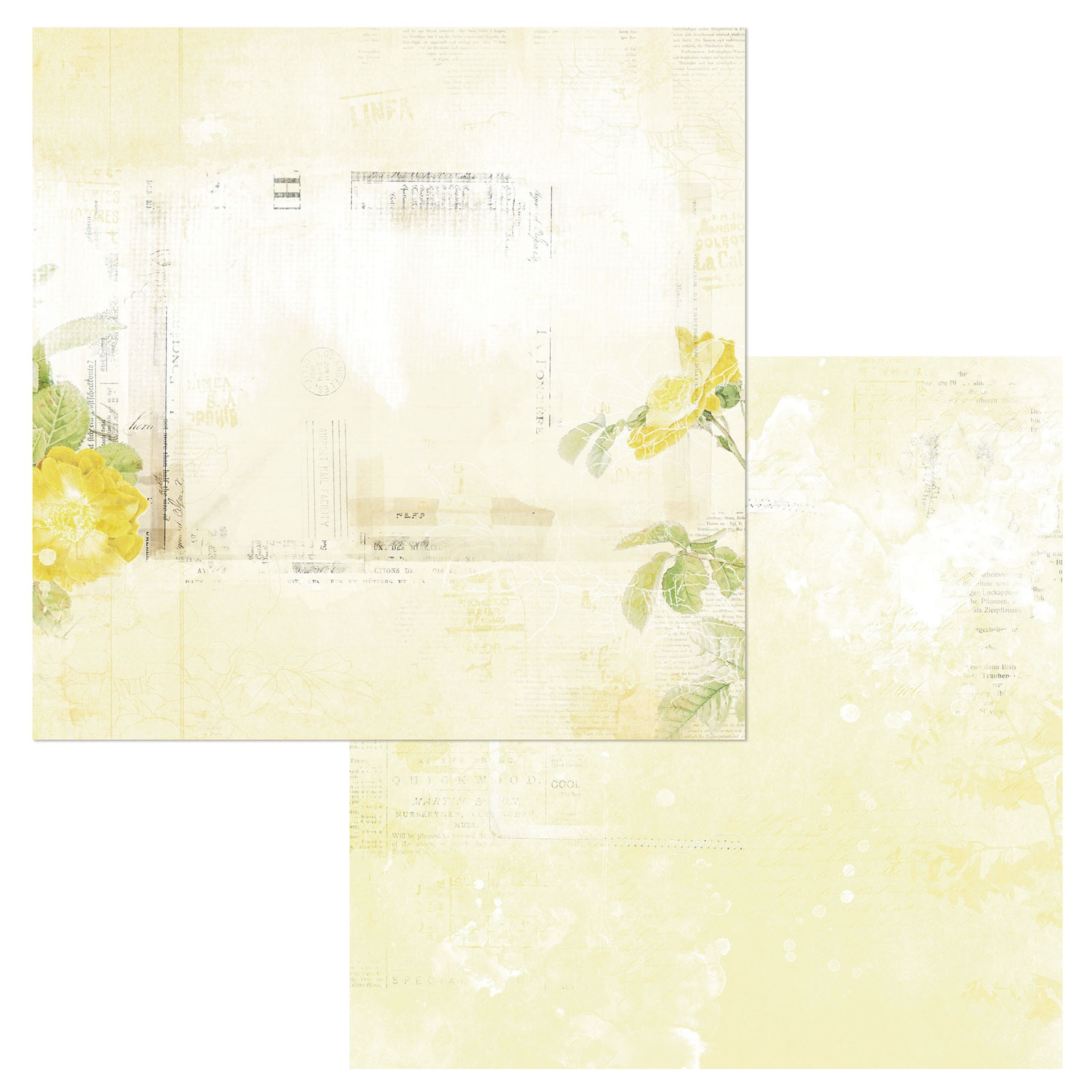 49 And Market - Vintage Artistry Butter - SERENITY - 12x12 Double-Sided Paper
