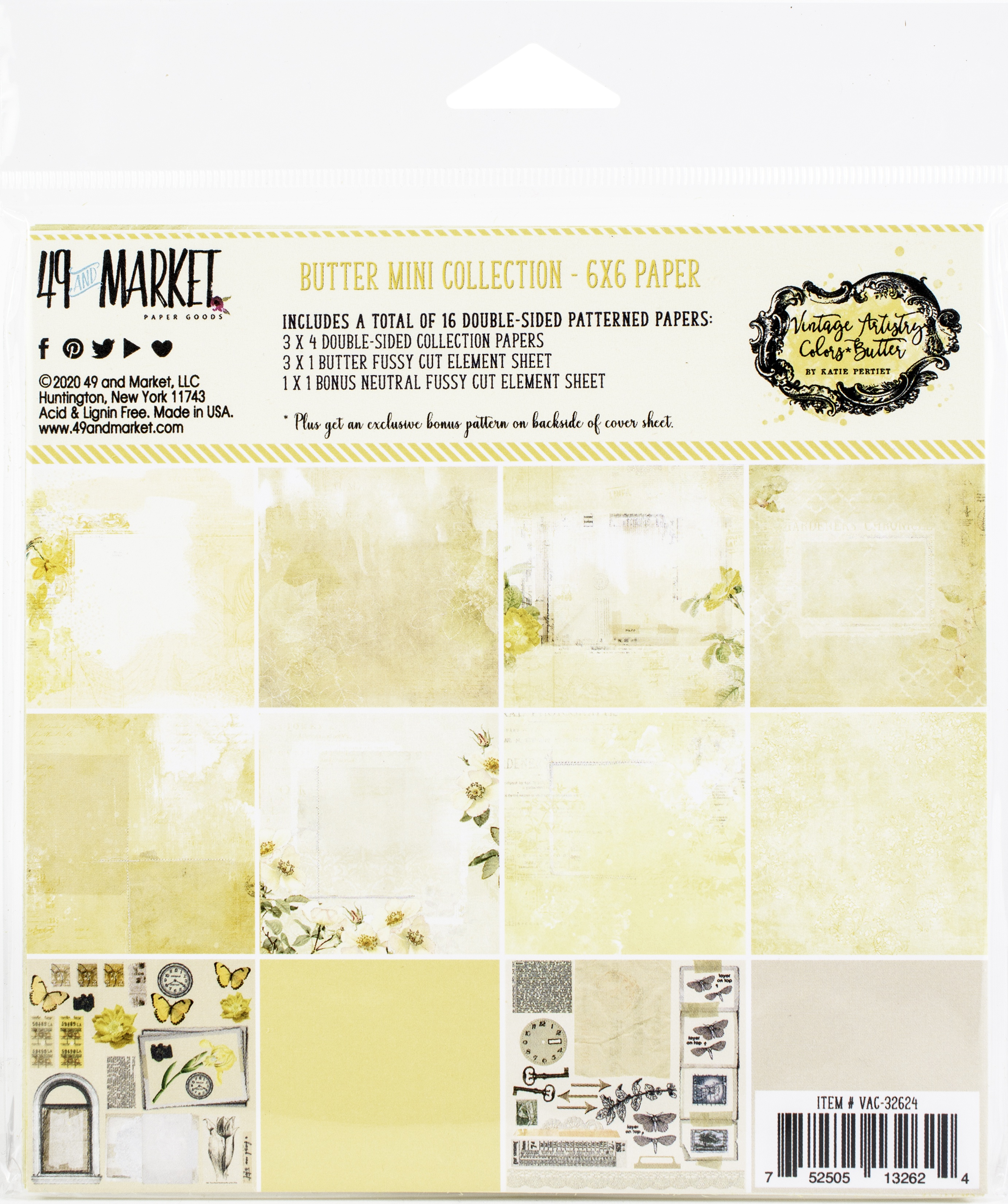 49 And Market Collection Pack 6X6-Vintage Artistry Butter