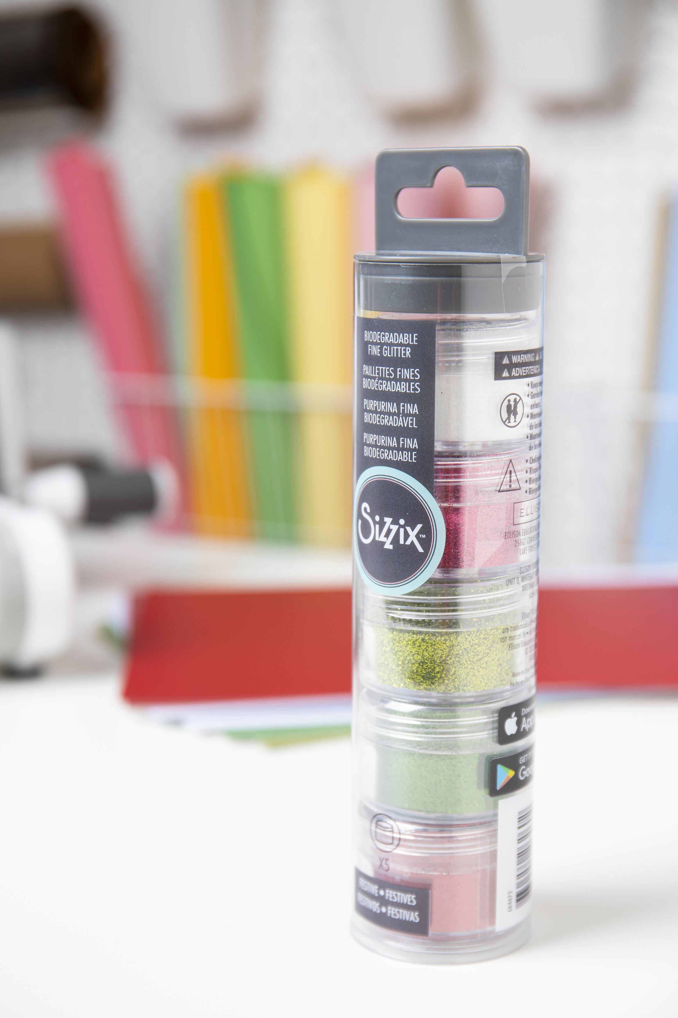 Sizzix Making Essential Biodegradable Fine Glitter 12g-Festive, 5/Pkg