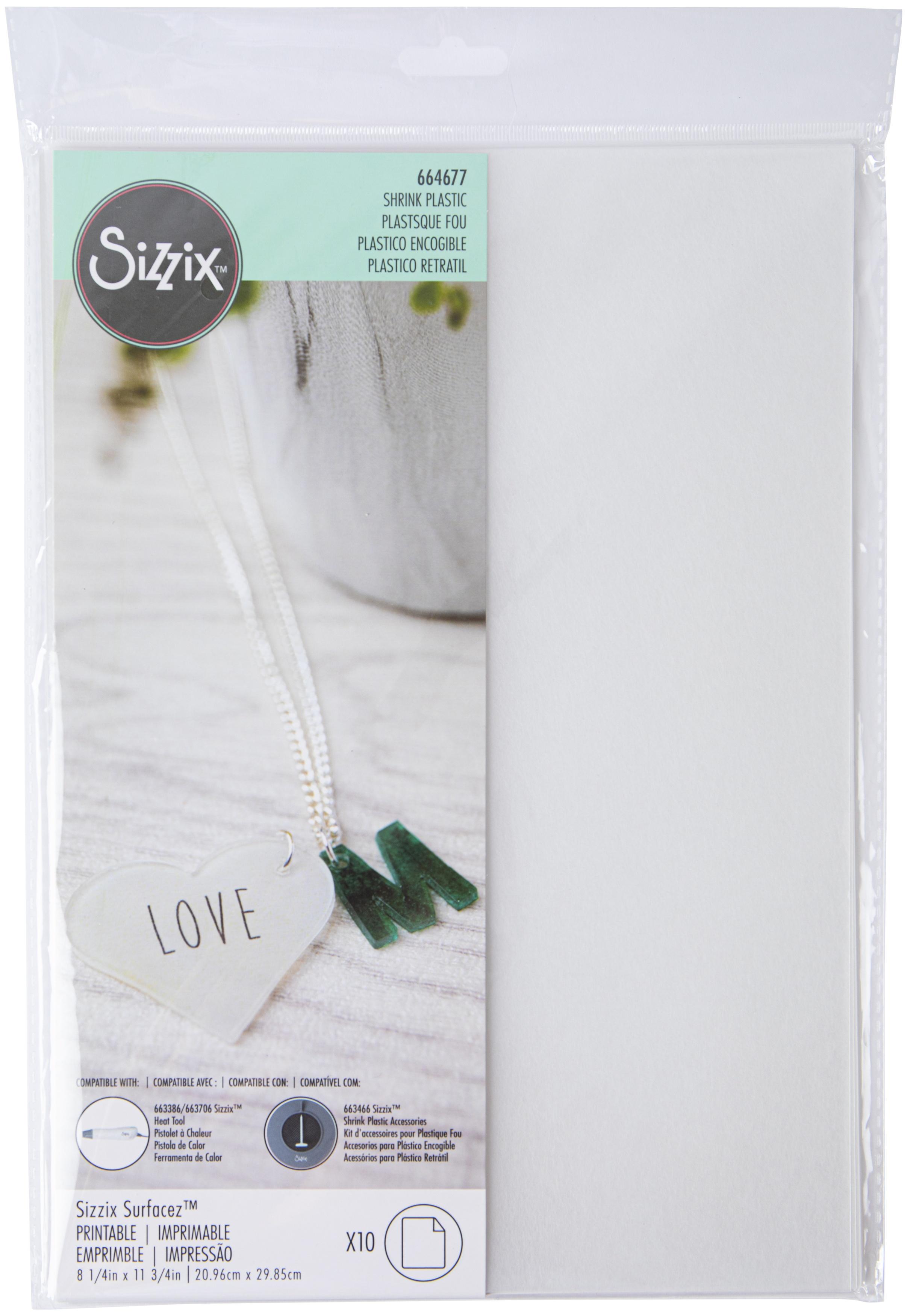 Sizzix Surfacez Shrink Plastic 8.5X11 10/Pkg-Printable