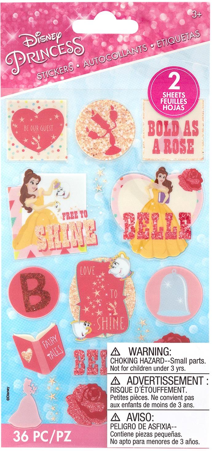 EK Disney Flat Stickers 2/Sheets-Princess - Belle
