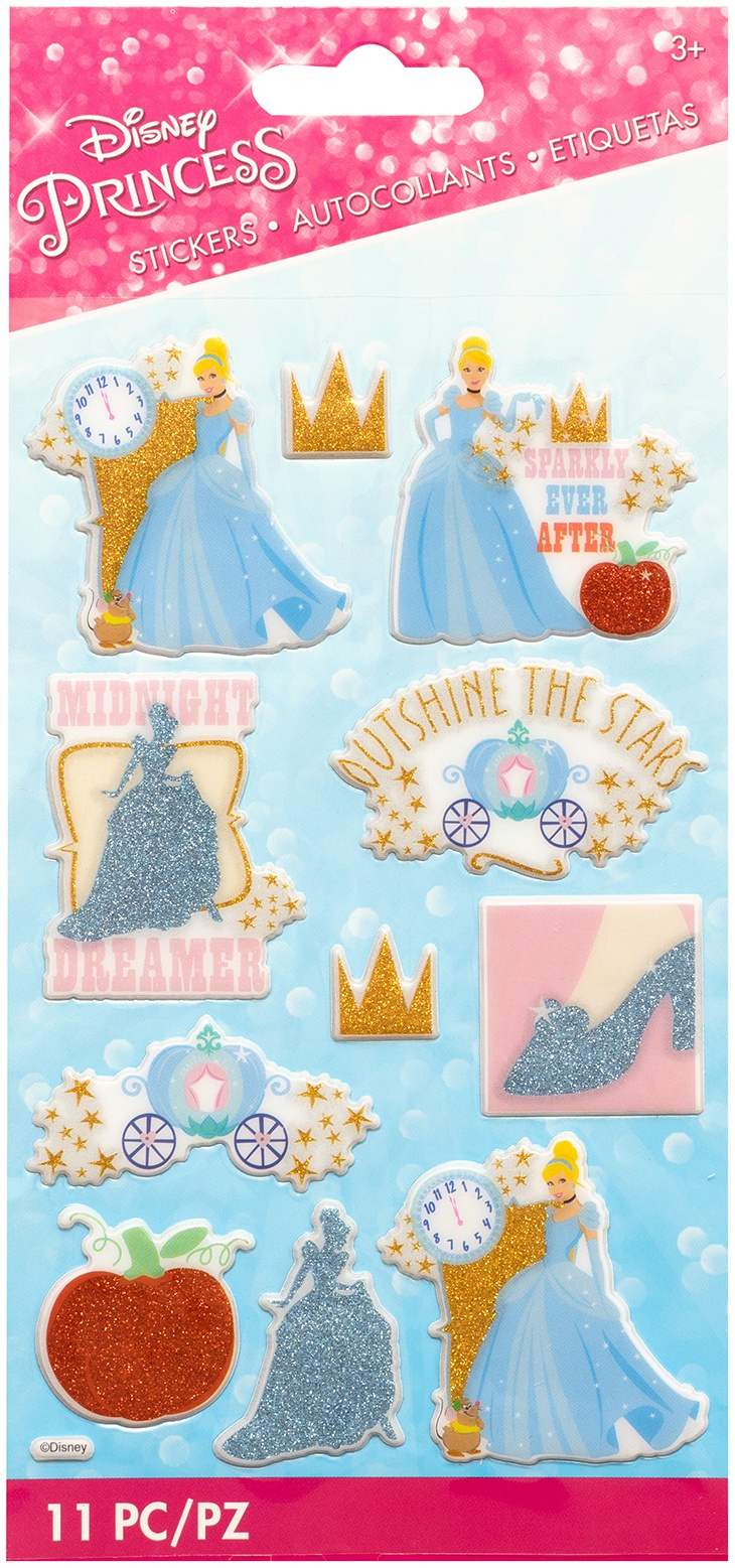 EK Disney Dimensional Glitter Stickers-Cinderella