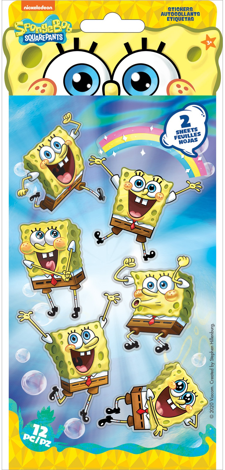 EK Disney Nickelodeon Flat Stickers 2/Sheets-SpongeBob