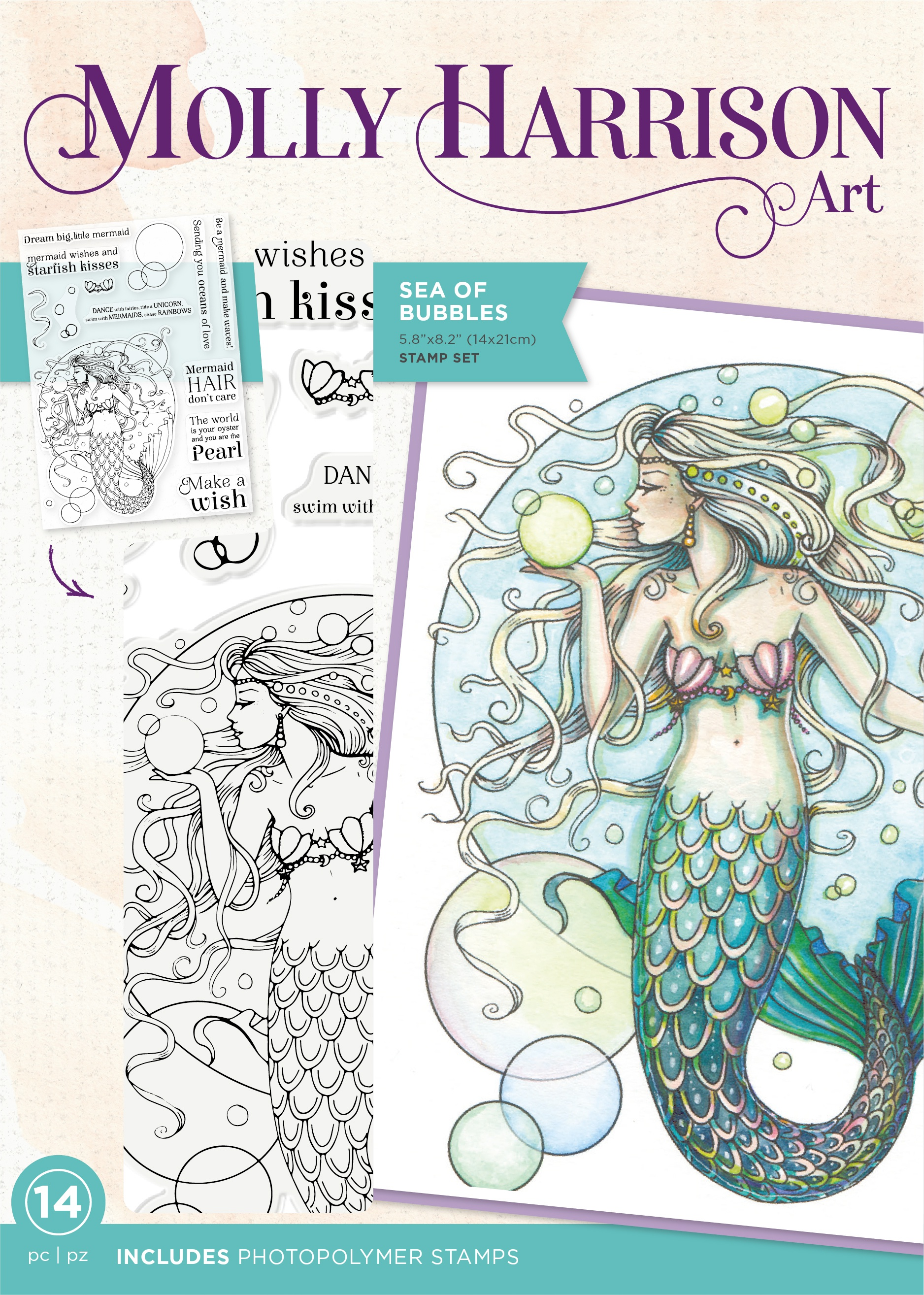 Crafter's Companion Photopolymer Stamps By Molly Harrison-Sea Of Bubbles