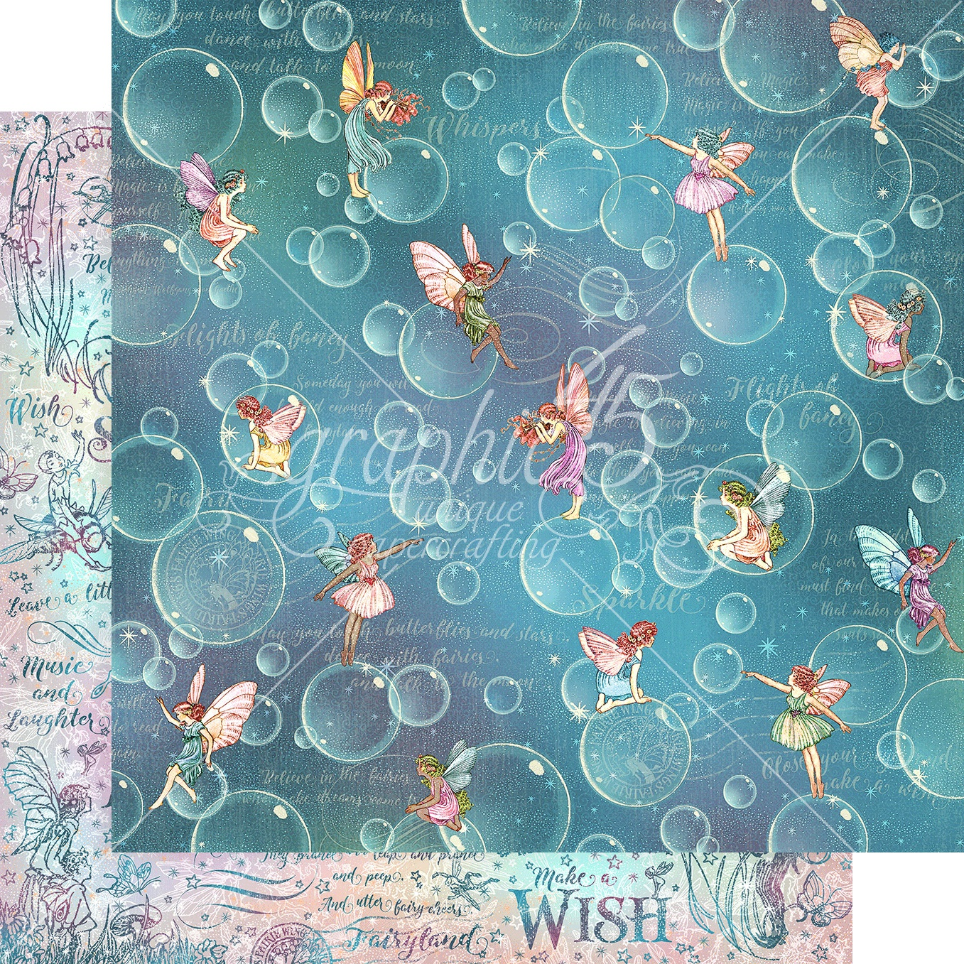 Fairie Wings Double-Sided Cardstock 12X12-Blowing Bubbles