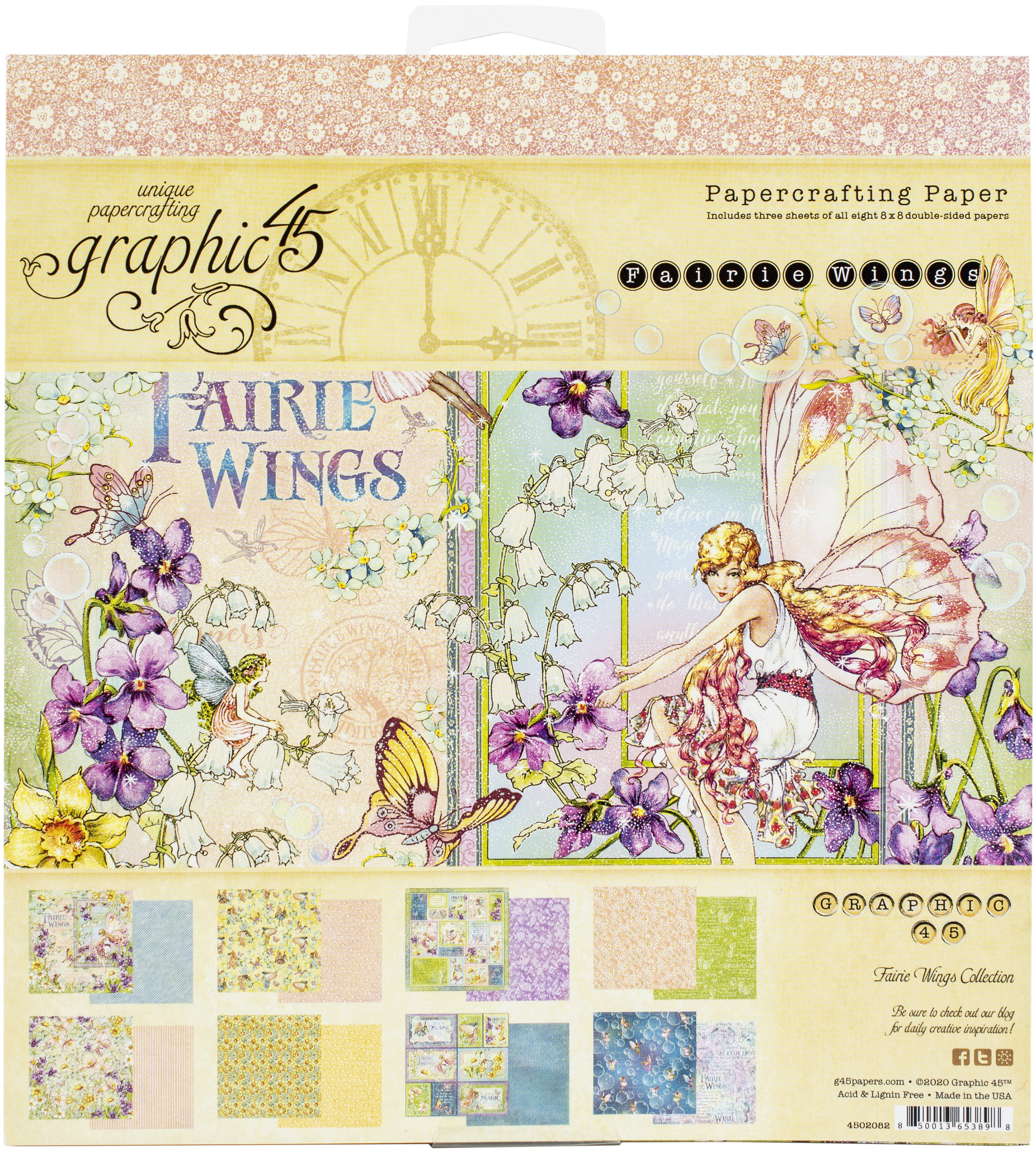 Graphic 45 Double-Sided Paper Pad 8X8 24/Pkg-Fairie Wings