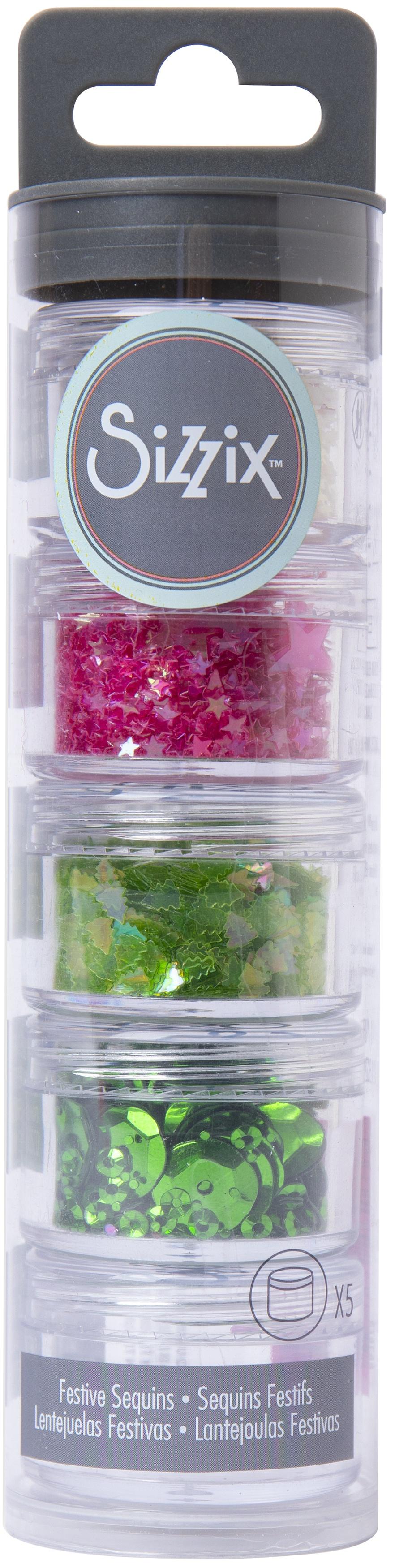 Sizzix Sequins & Beads -Festive Color 1 5/Pkg