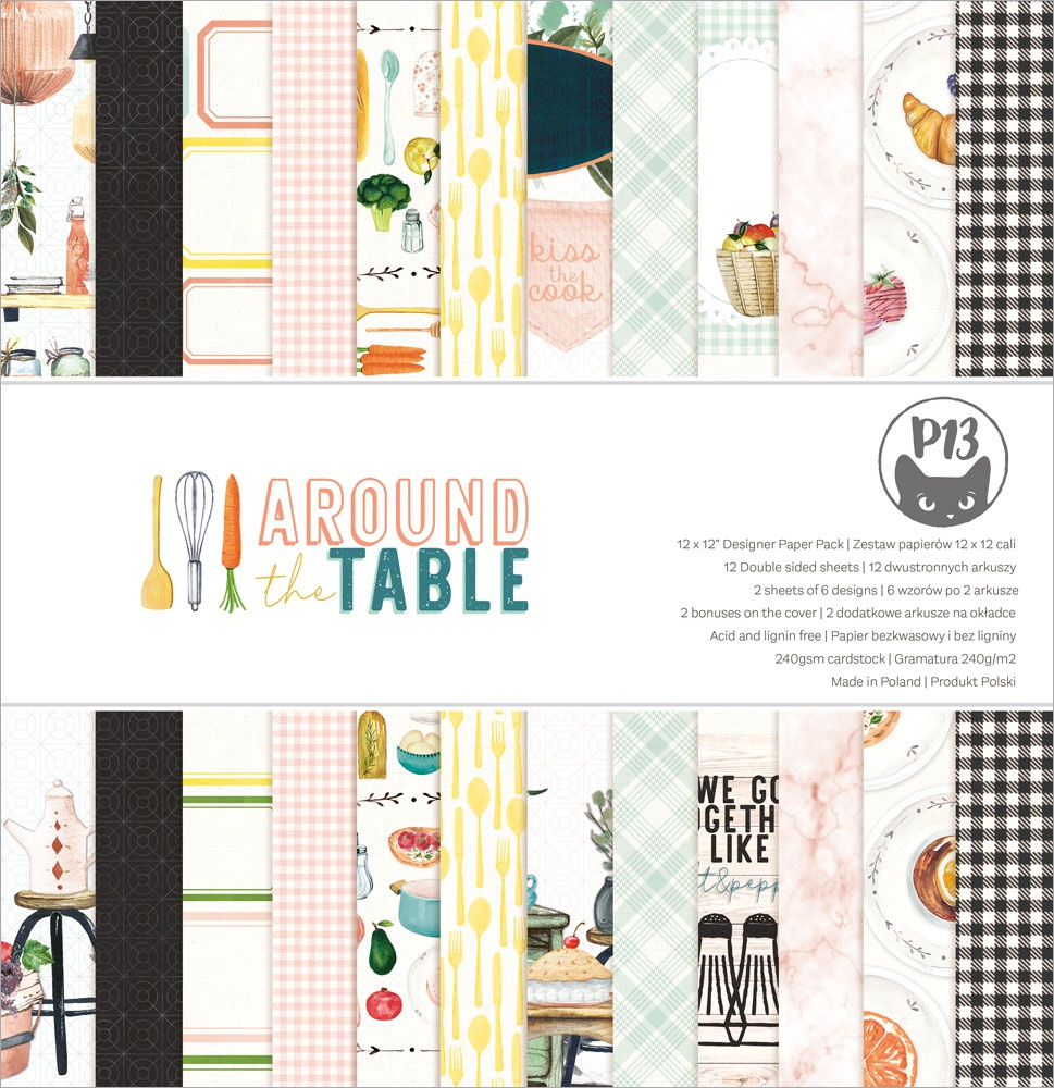 P13 Double-Sided Paper Pad 12X12 12/Pkg-Around The Table