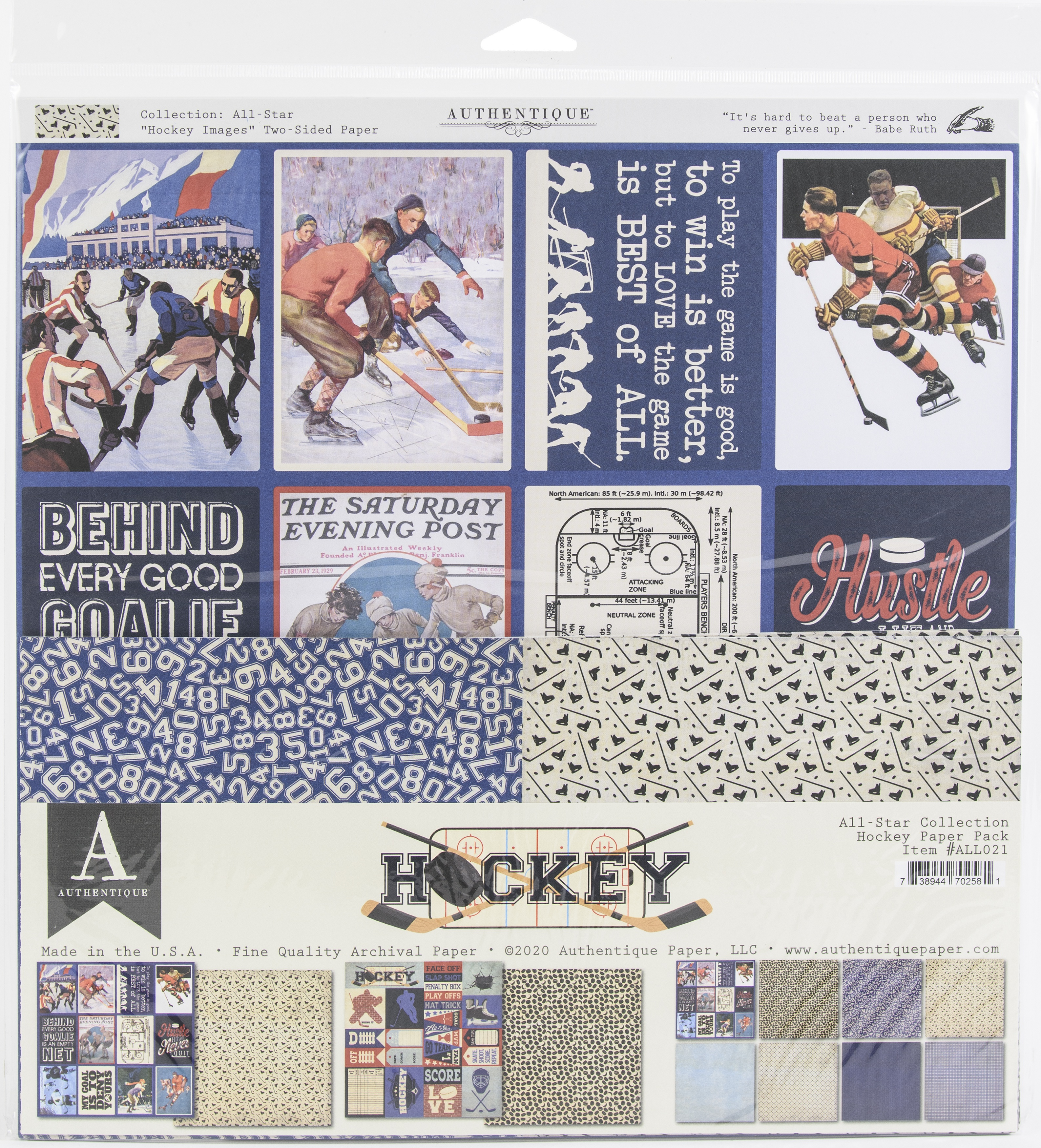 Authentique All-Star Paper Pack-Hockey