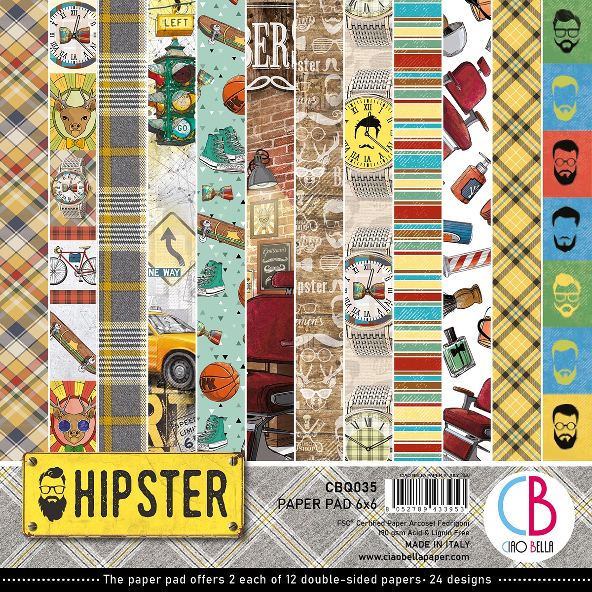 Ciao Bella Double-Sided Paper Pack 90lb 6X6 24/Pkg-Hipster, 12 Designs/2 Each