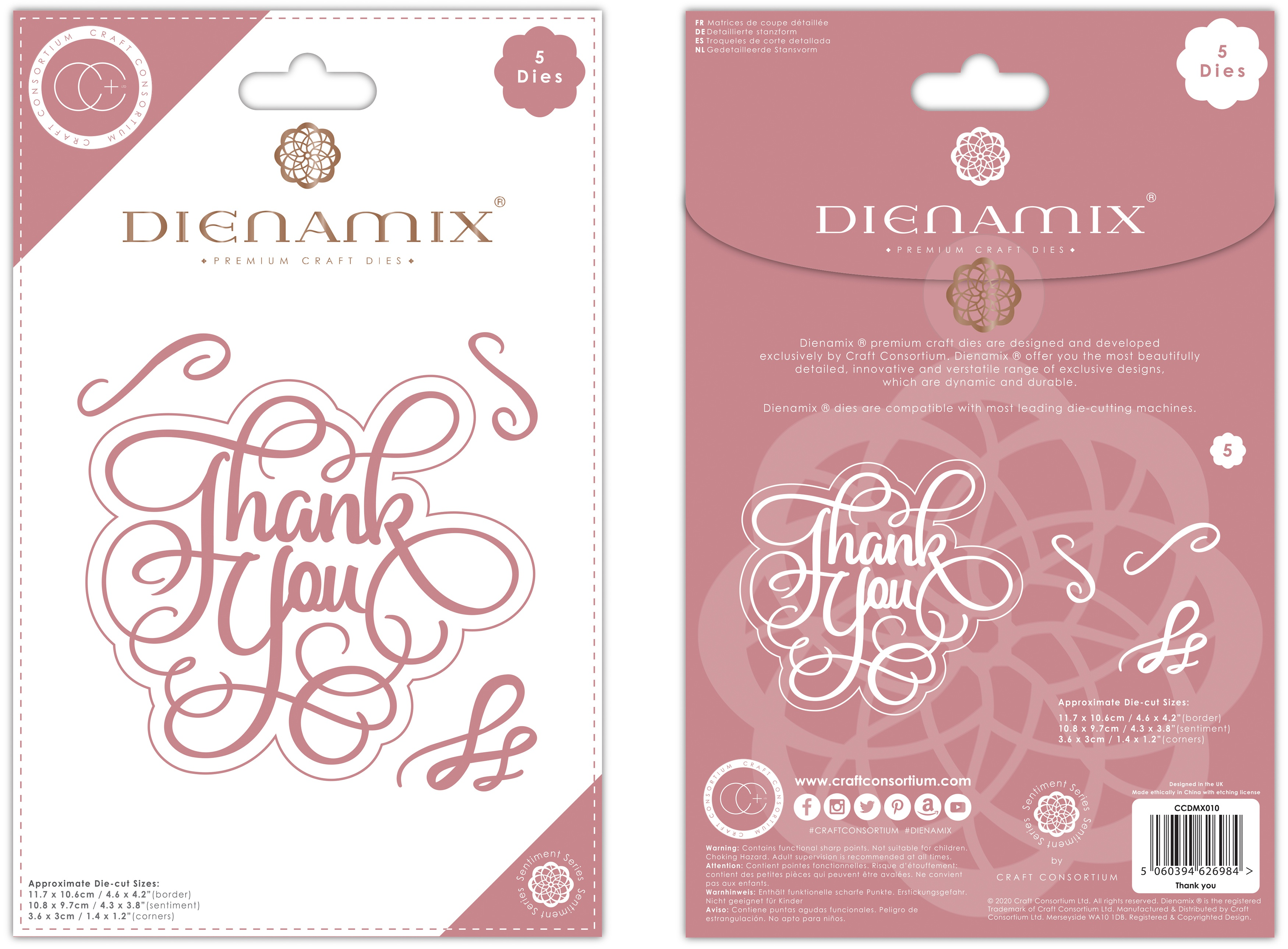 Craft Consortium Dienamix Premium Cutting Dies-Thank You