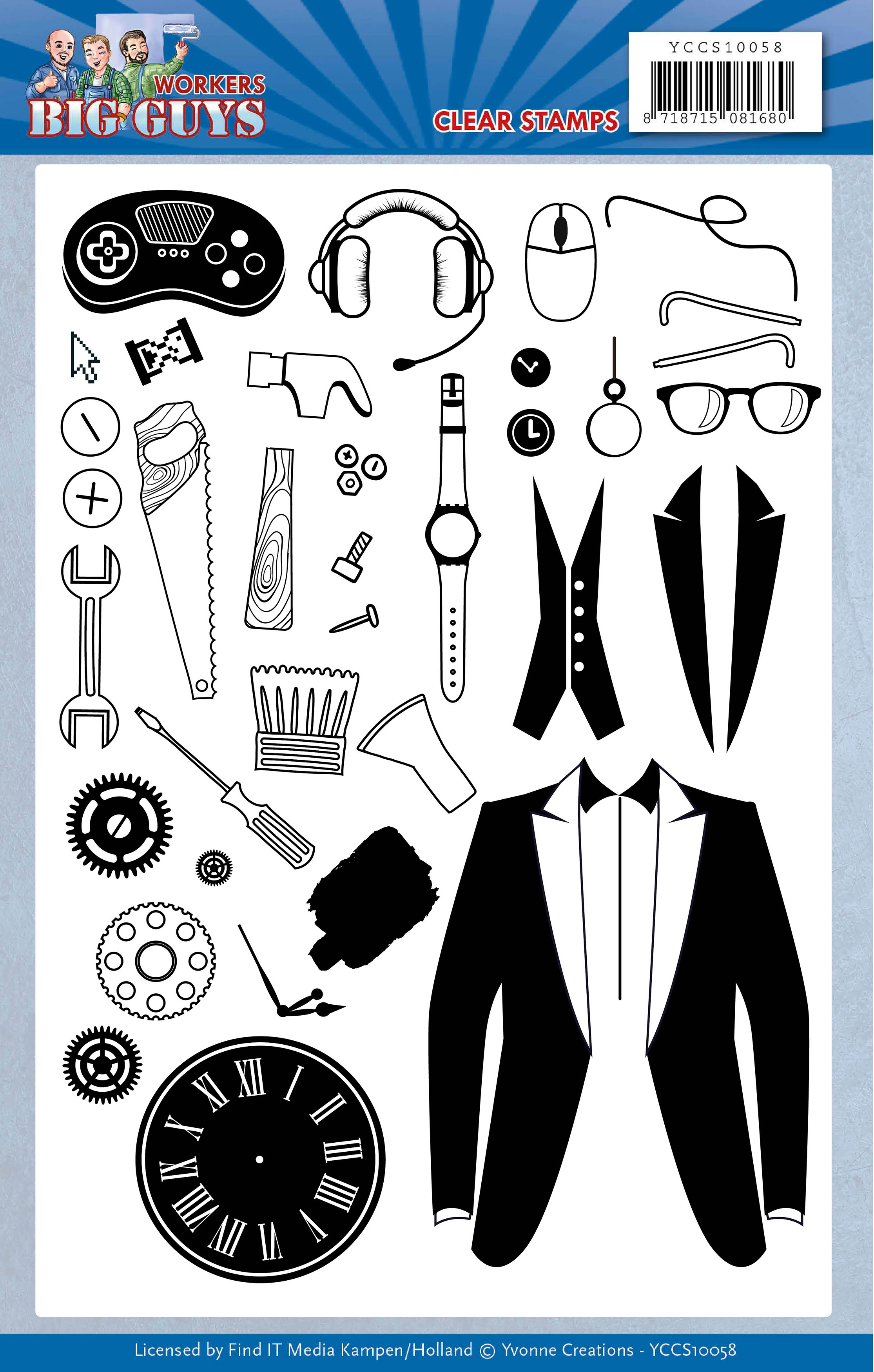 Find It Trading Yvonne Creations Clear Stamps-Big Guys Workers