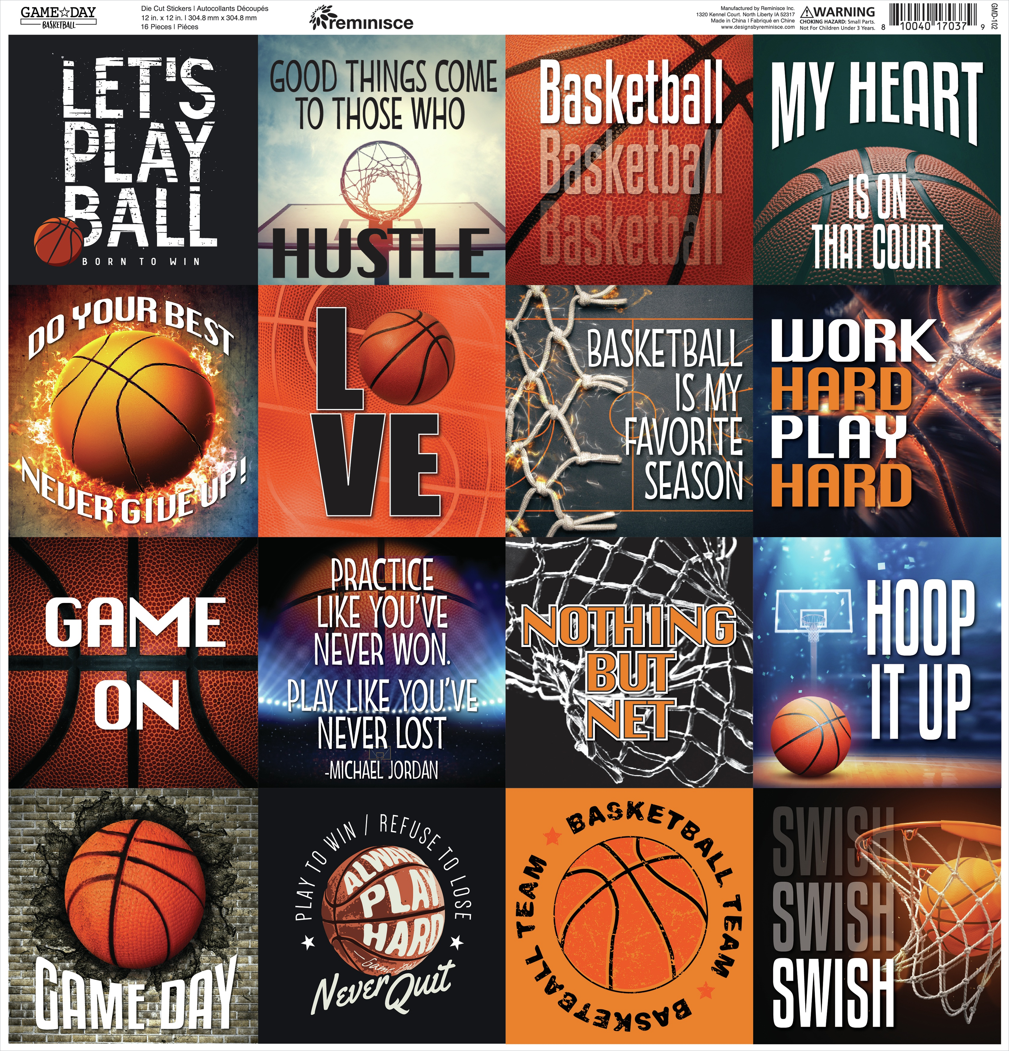 Reminisce Square Cardstock Stickers 12X12-Game Day Basketball