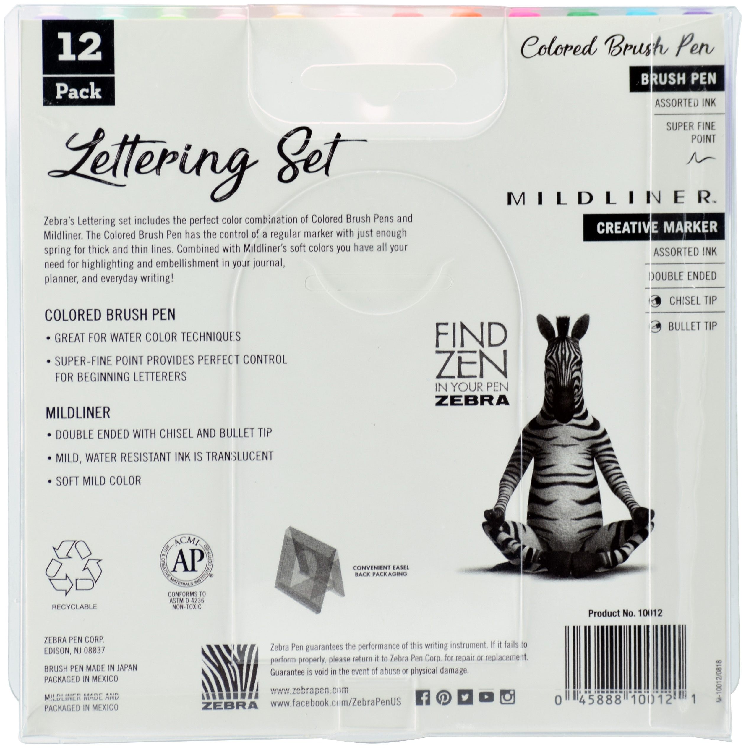 Zebra Mildliner Lettering Set 12/Pkg-Assorted Colors & Styles