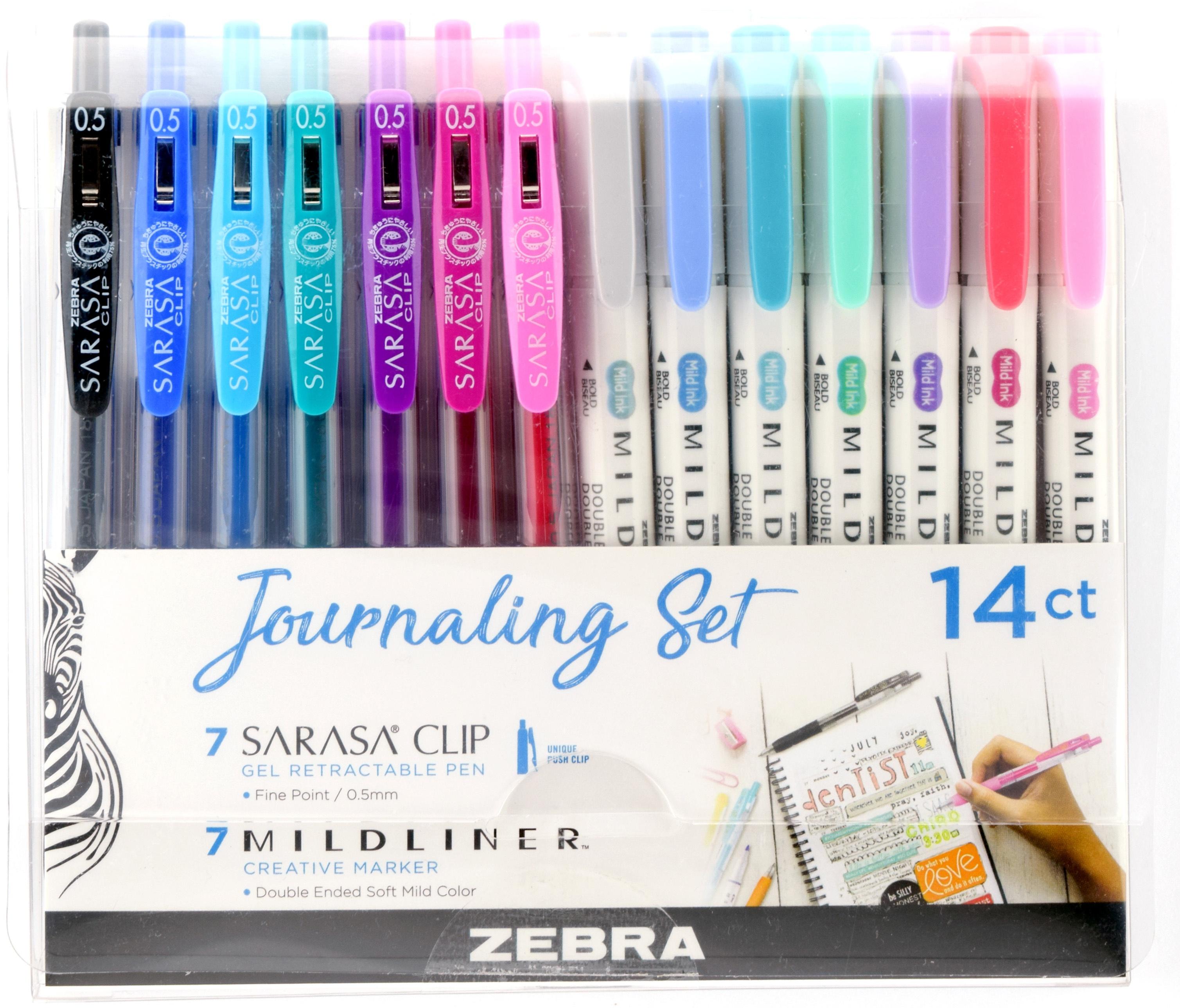 Zebra Mildliner Journaling Set 14/Pkg-Assorted Colors & Styles
