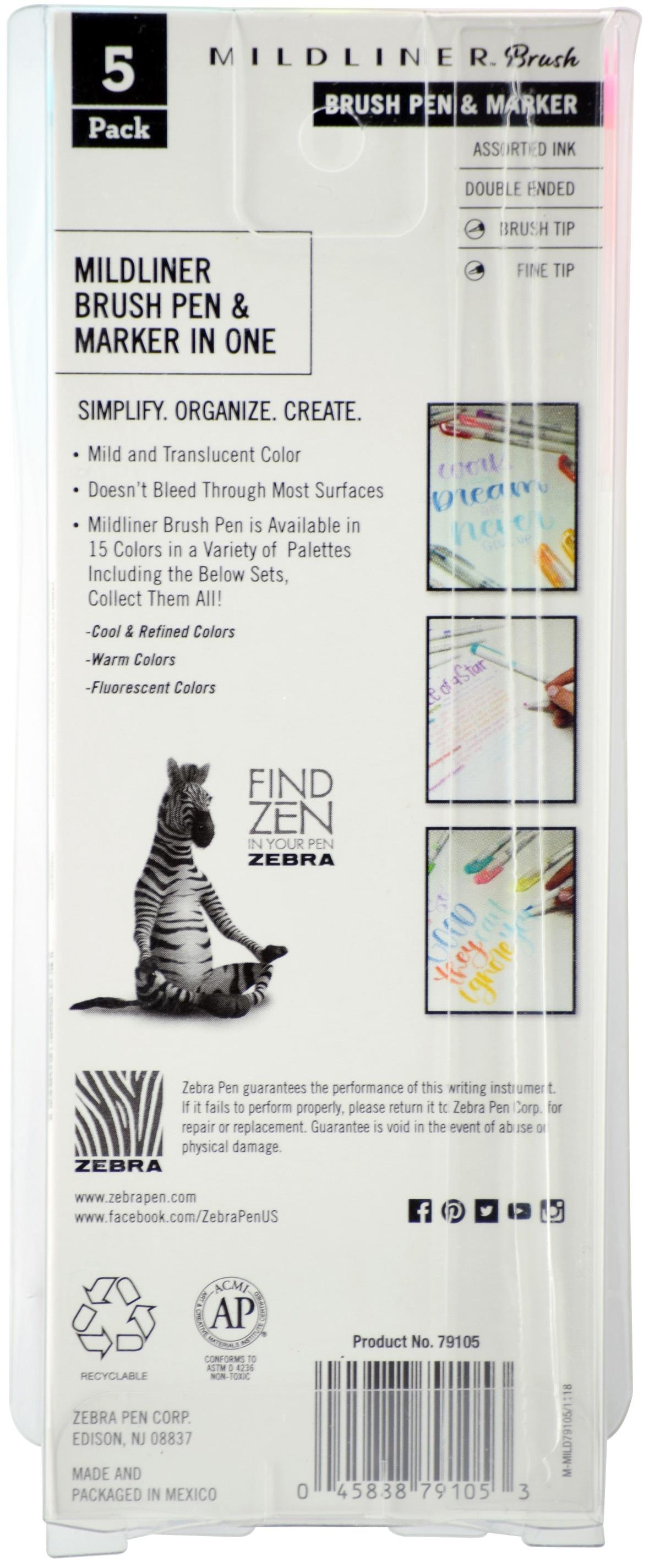 Zebra Mildliner Double Ended Brush Pen & Marker 5/Pkg-Fluorescent