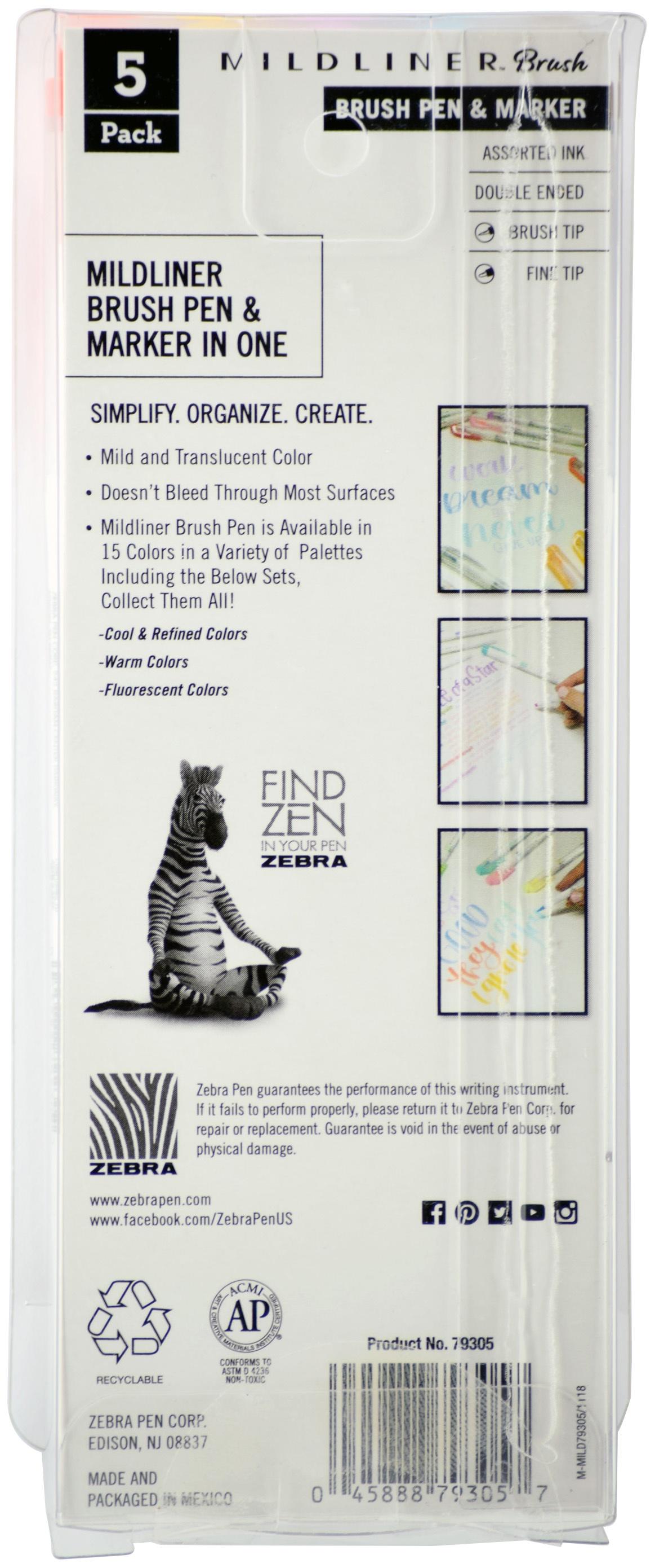 Zebra Mildliner Double Ended Brush Pen & Marker 5/Pkg-Warm