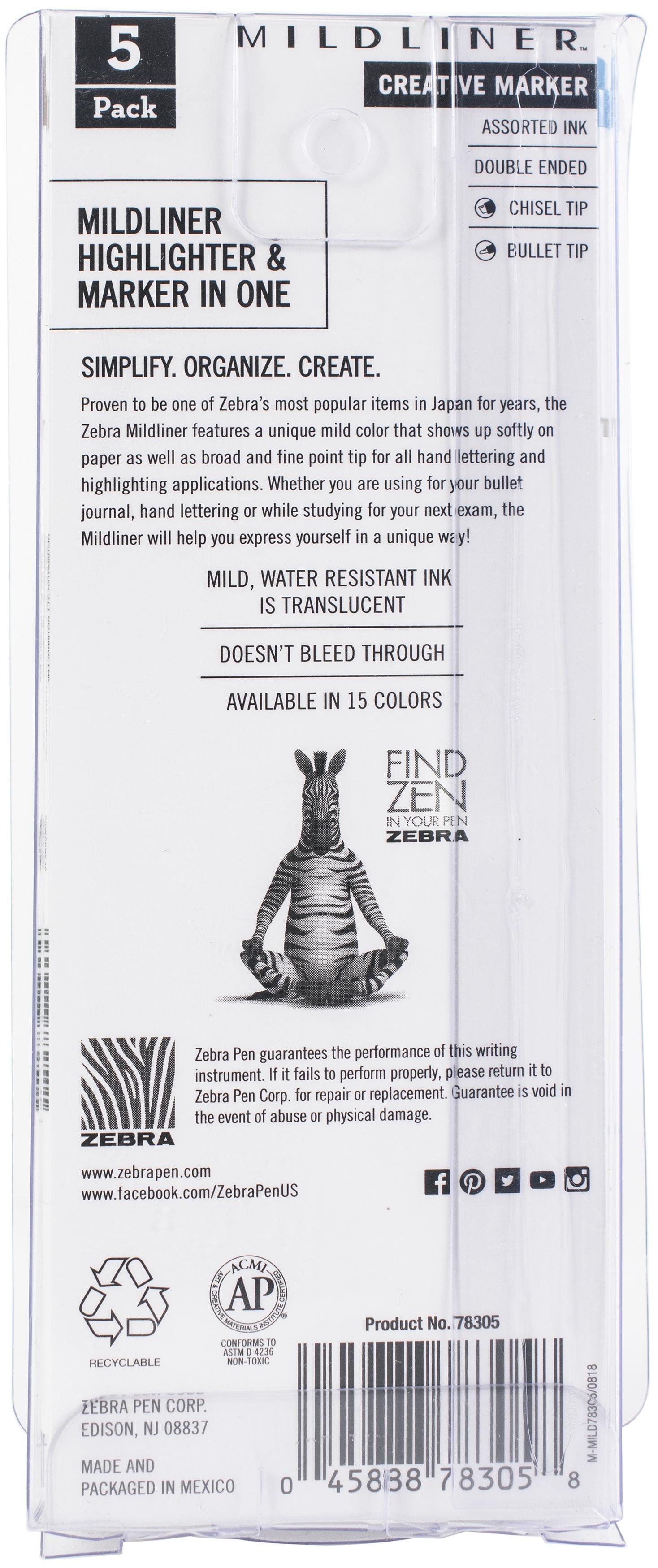 Zebra Mildliner Double Ended Marker Bold & Fine Point 5/Pkg-Warm