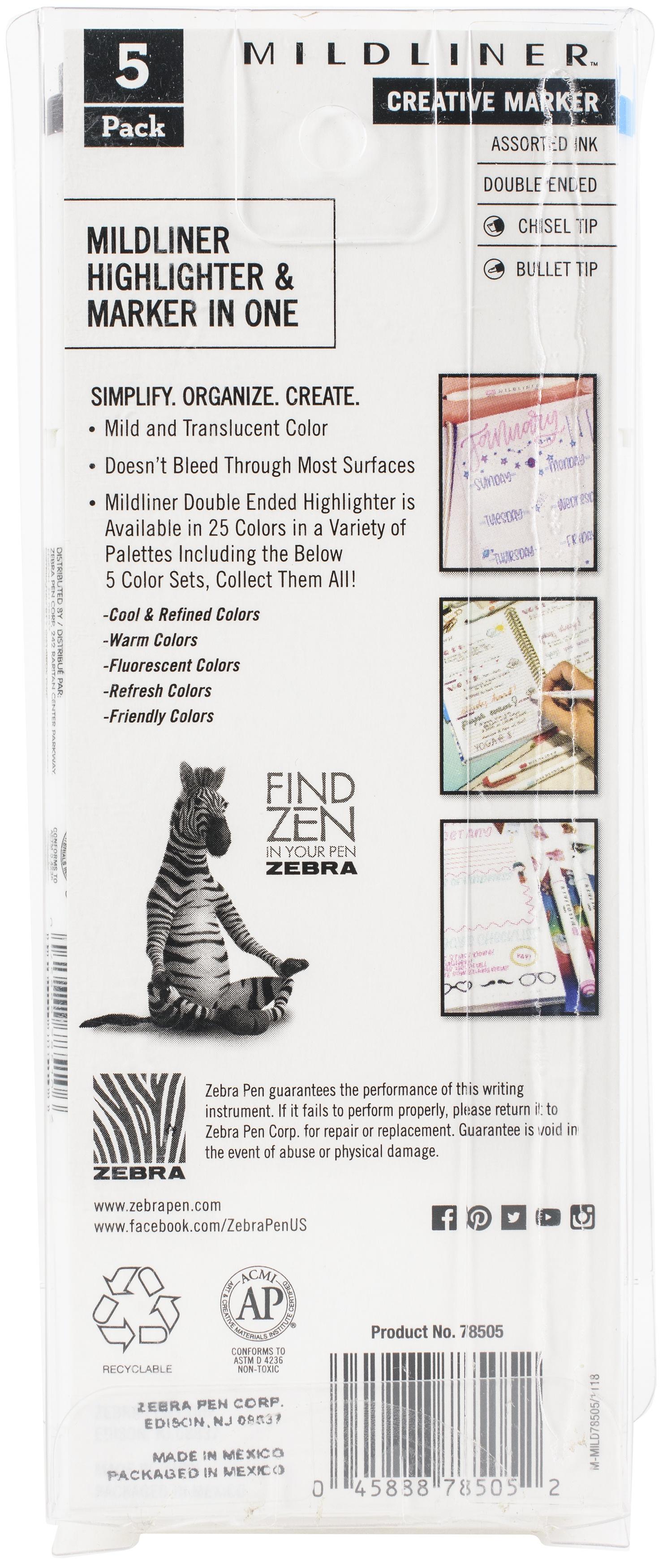 Zebra Mildliner Double Ended Marker Bold & Fine Point 5/Pkg-Friendly Mild