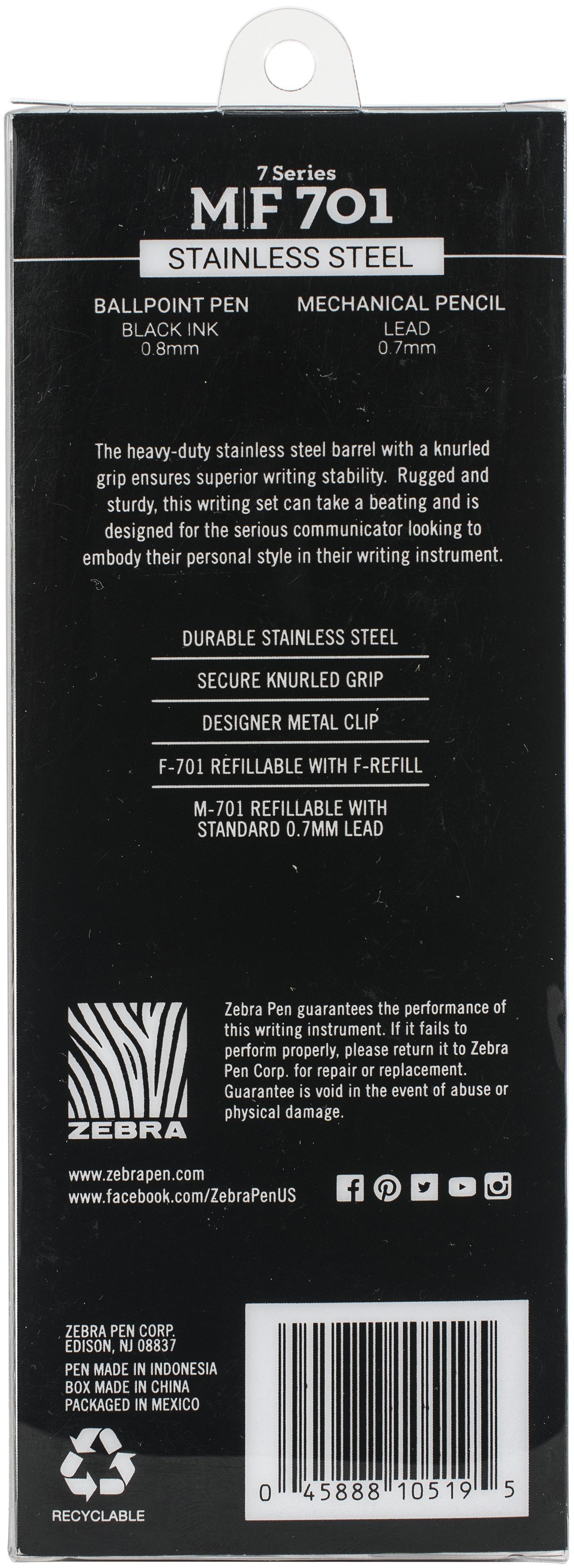 Zebra M/F 701 Stainless Steel Pen & Pencil Gift Set 2/Pkg-Pen 0.8mm & Mechanical Pencil 0.7mm