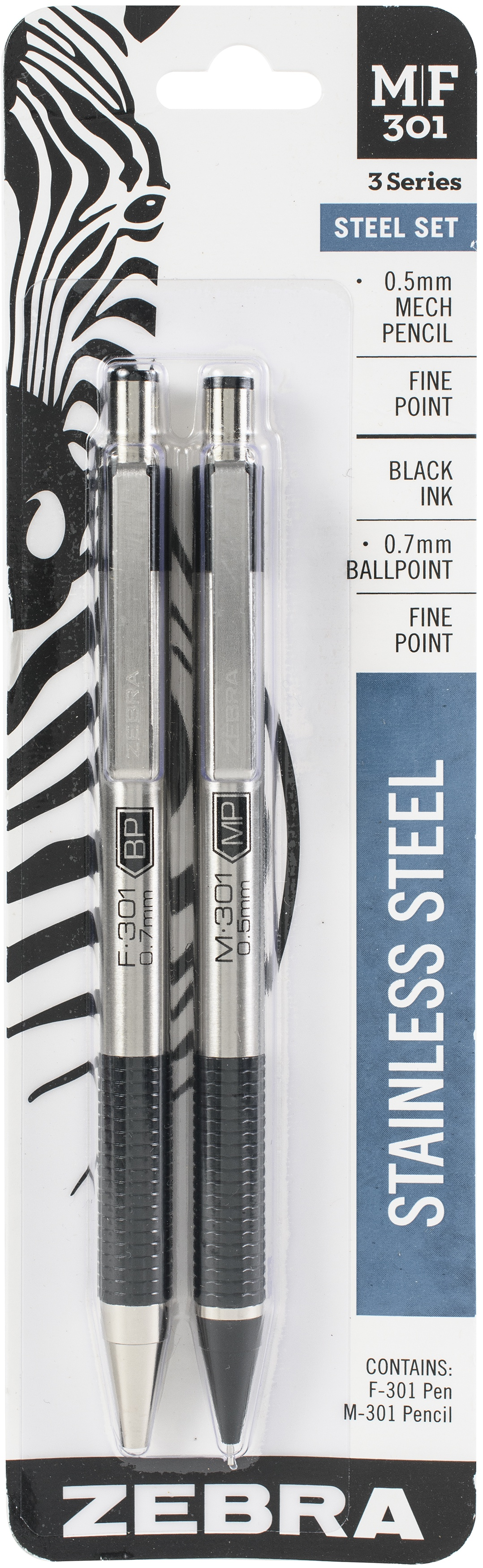 Zebra M/F 301 Stainless Steel Pen & Pencil Set 2/Pkg-Pen 0.7mm & Mechanical Pencil 0.5mm