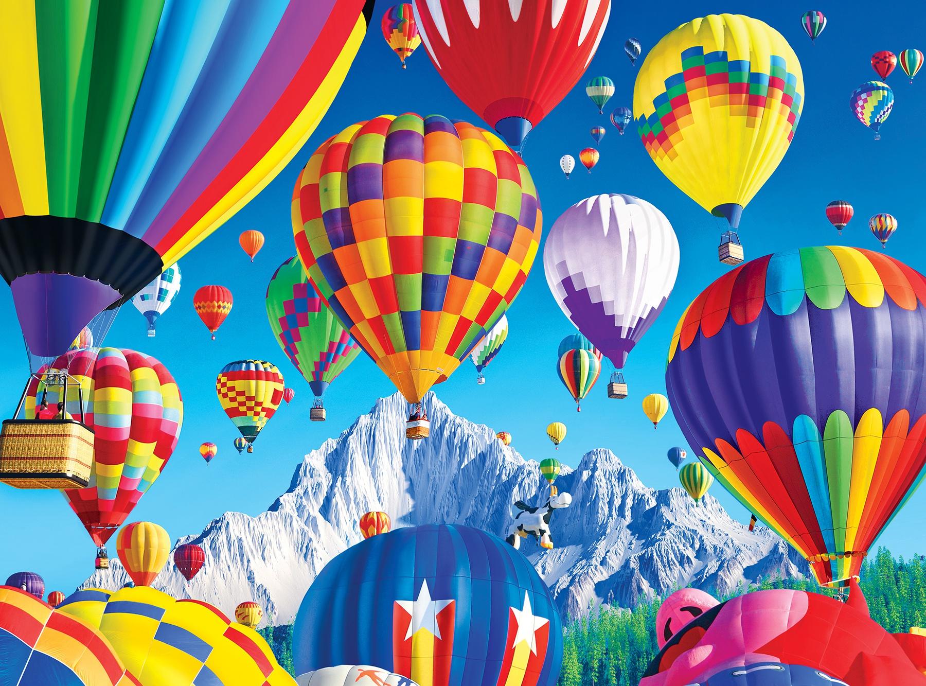 Premium Jigsaw Puzzle 1000 Pieces 20X27-Balloons Over A Mountain