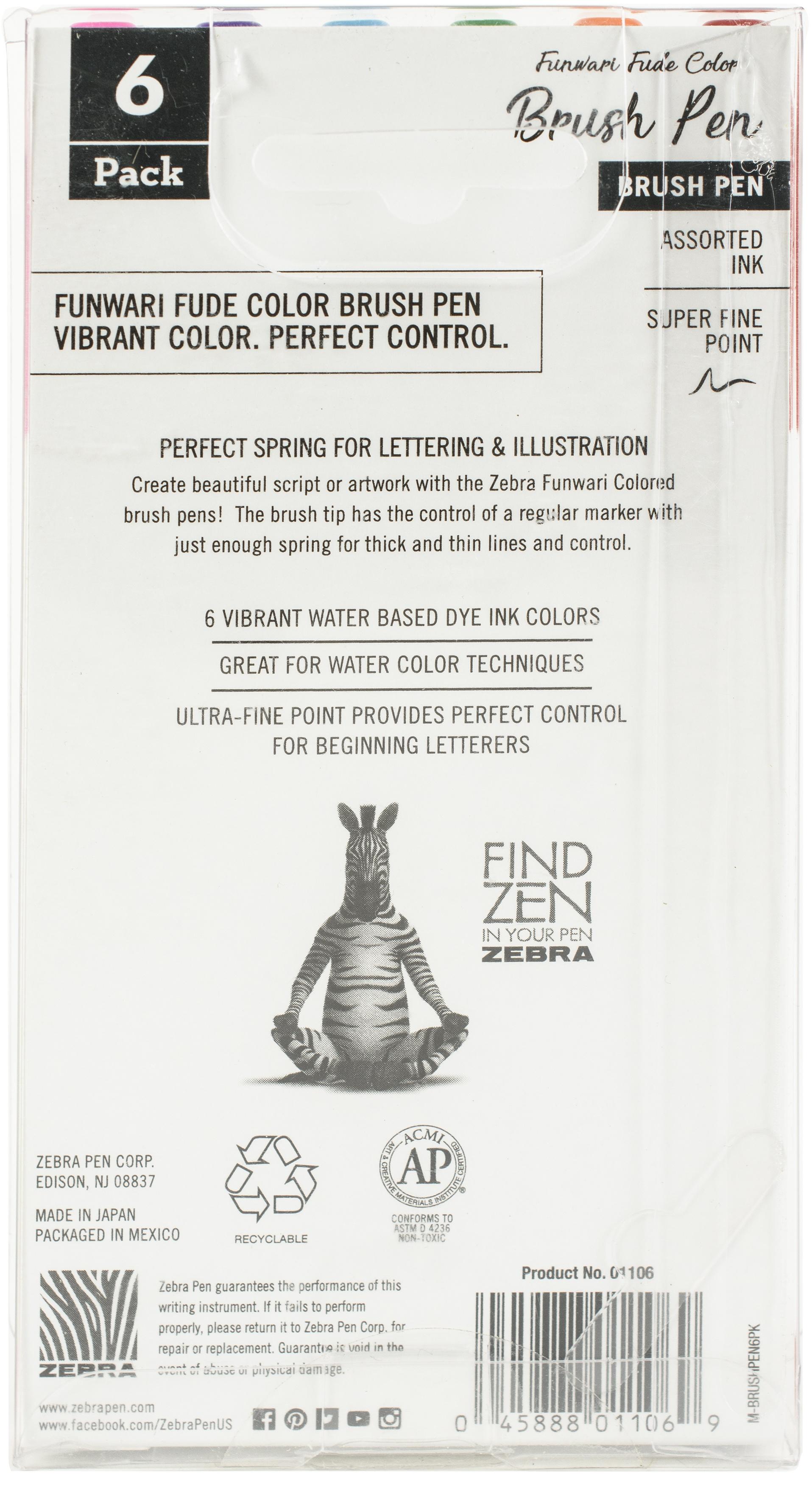 Zebra Funwari Brush Pen Set 6/Pkg-Assorted Colors
