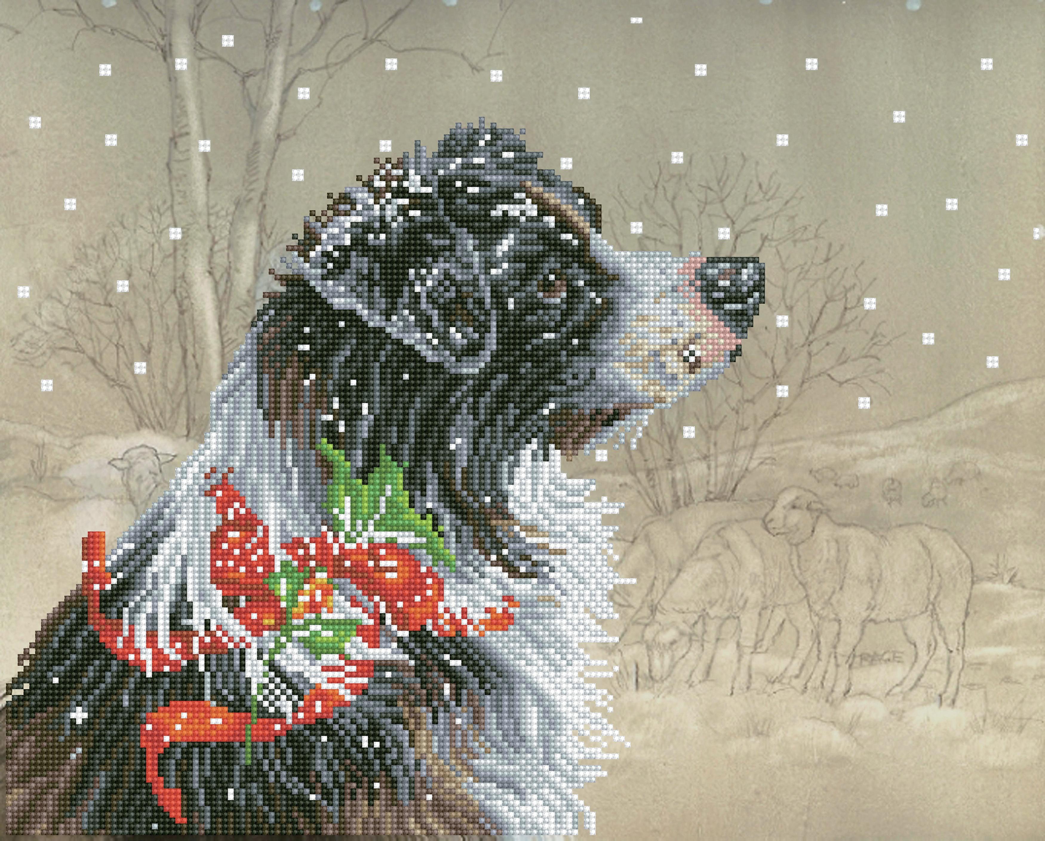 Diamond Dotz Diamond Embroidery Facet Art Kit 19X16-Christmas Collie