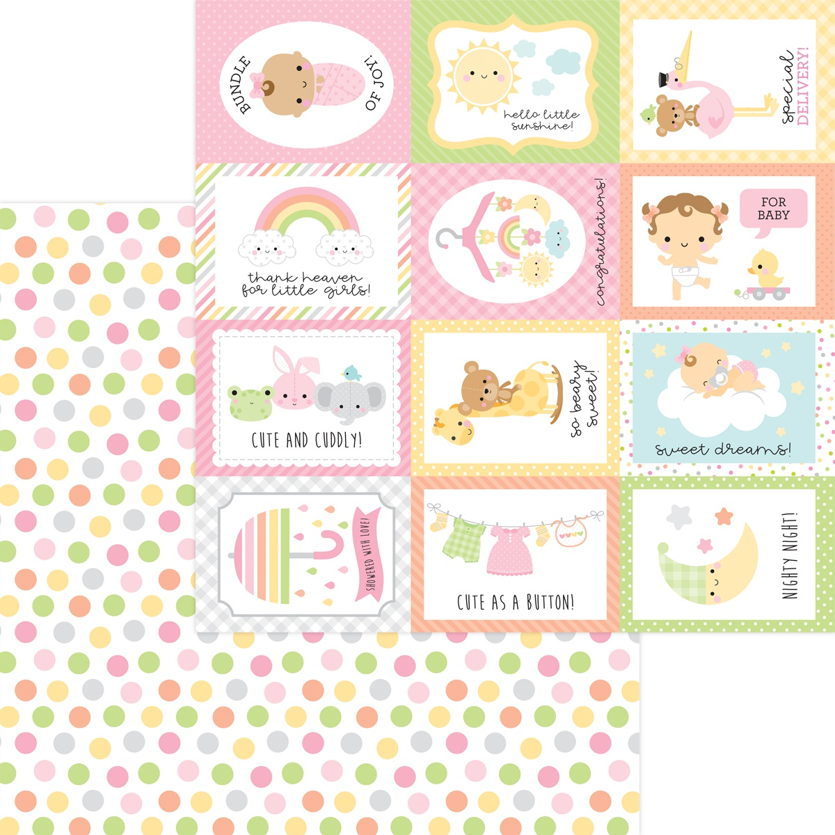 Bundle Of Joy Double-Sided Cardstock 12X12-Cute As A Button