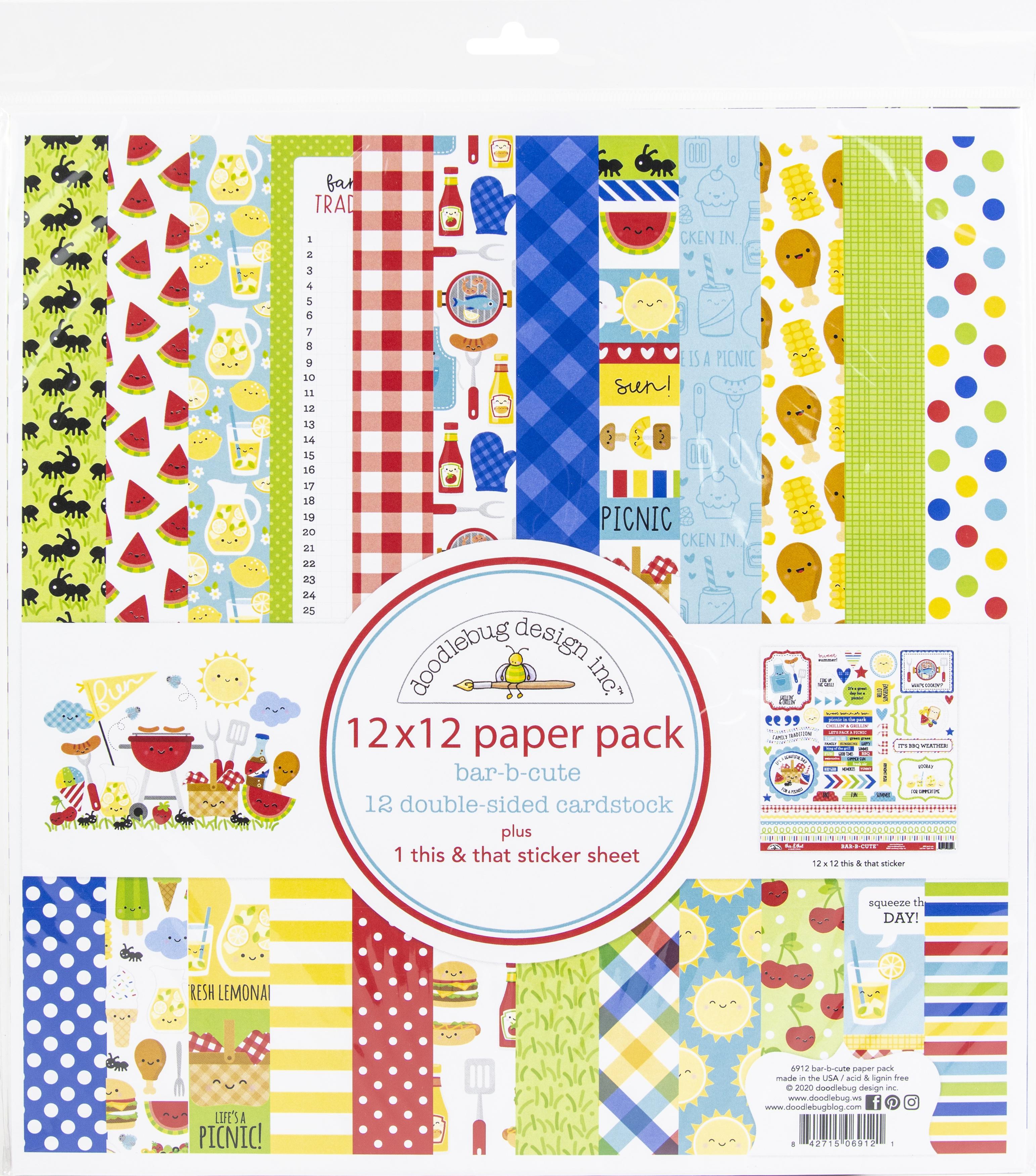 Doodlebug Bar-B-Cute Paper Pack Plus This & That Sticker Sheet 12x12