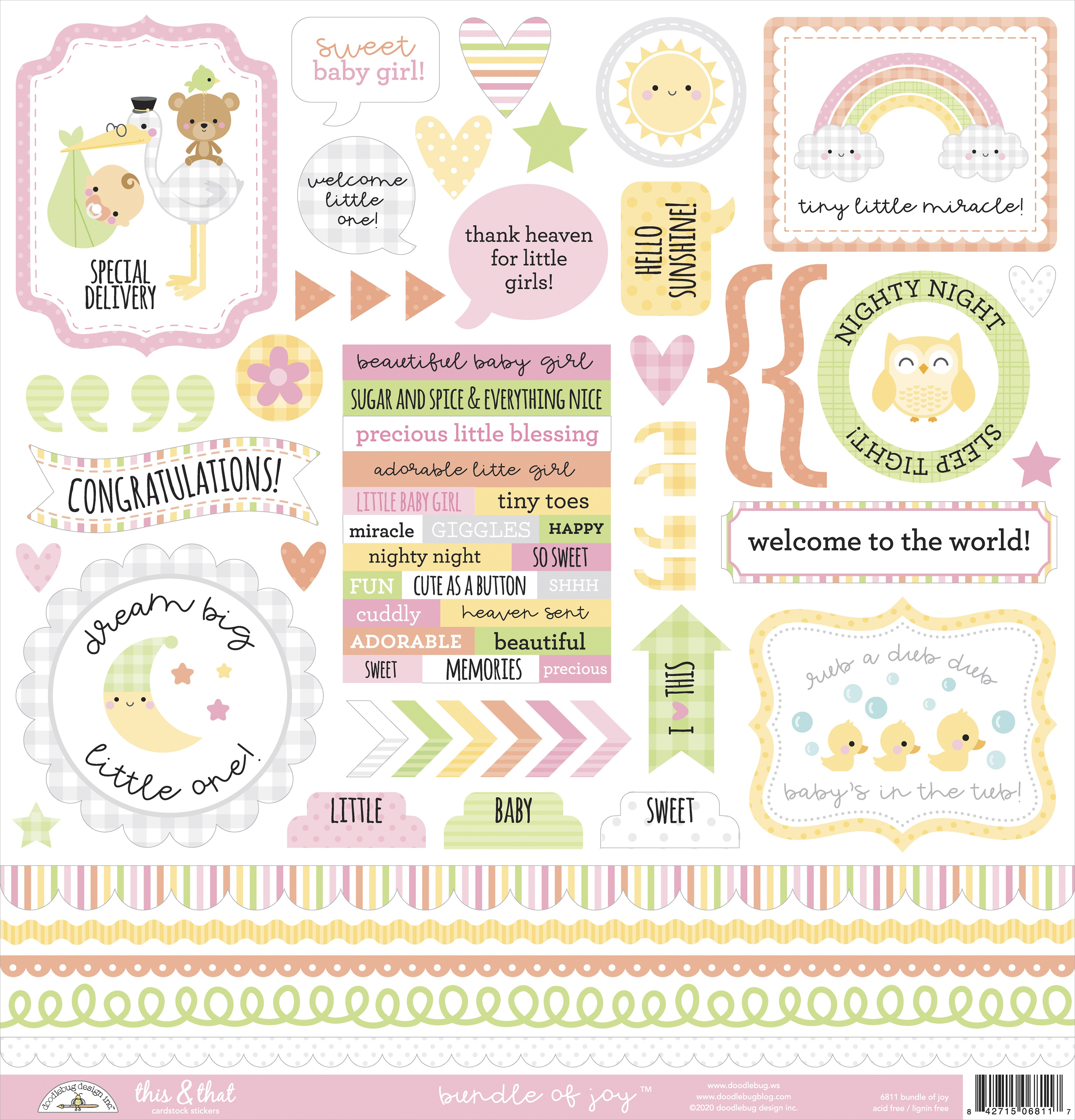 Doodlebug This & That Cardstock Stickers 12X12-Bundle Of Joy
