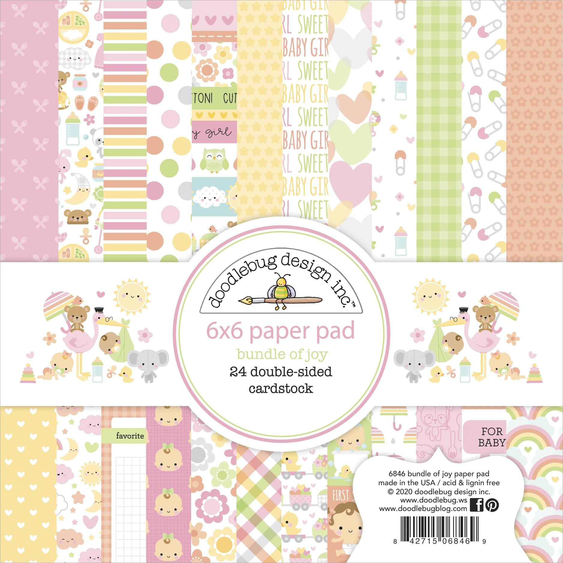 Doodlebug Double-Sided Paper Pad 6X6 24/Pkg-Bundle Of Joy 12 Designs/2 Each