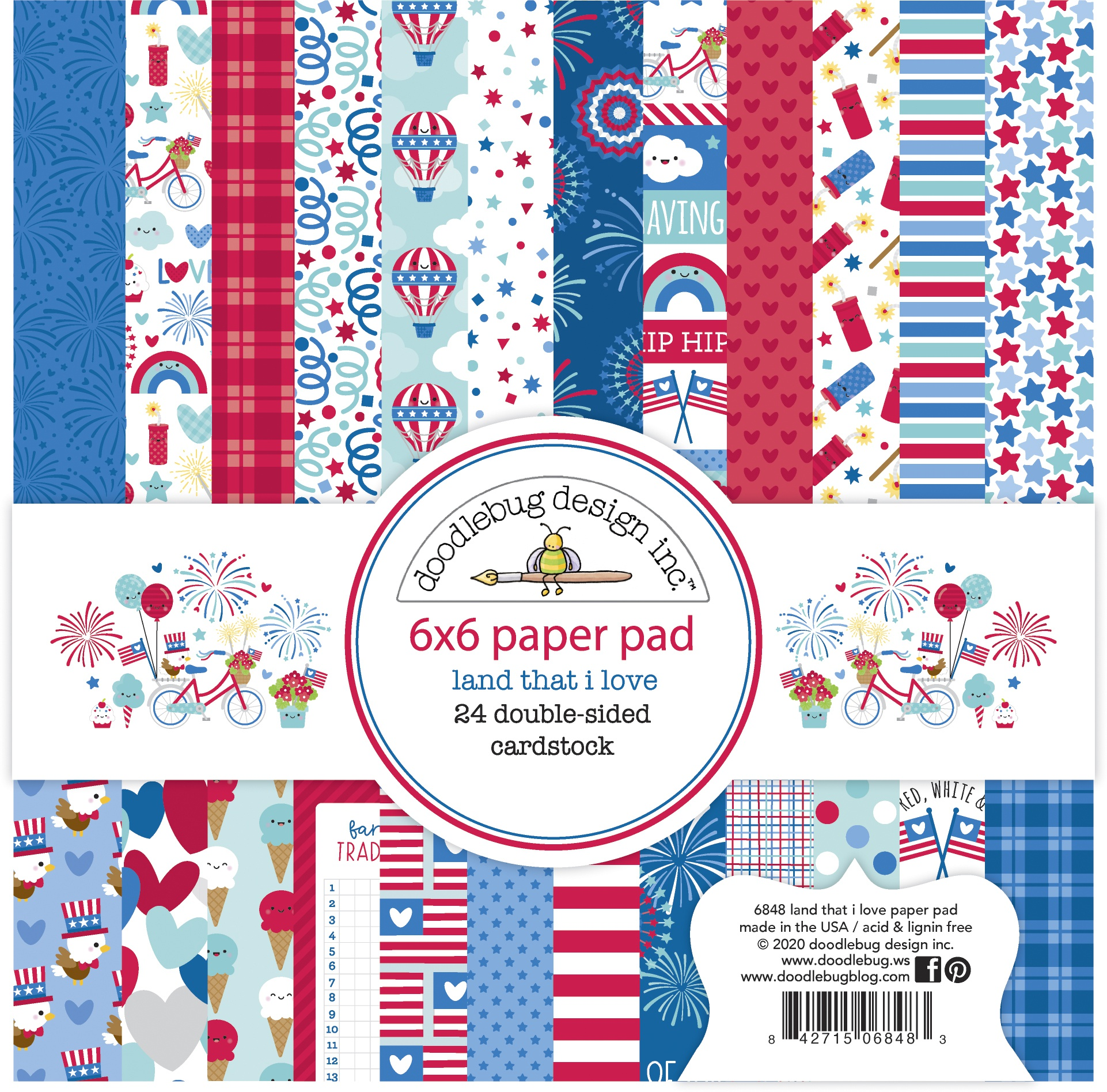 Doodlebug Double-Sided Paper Pad 6X6 24/Pkg-Land That I Love, 12 Designs/2 Eac...