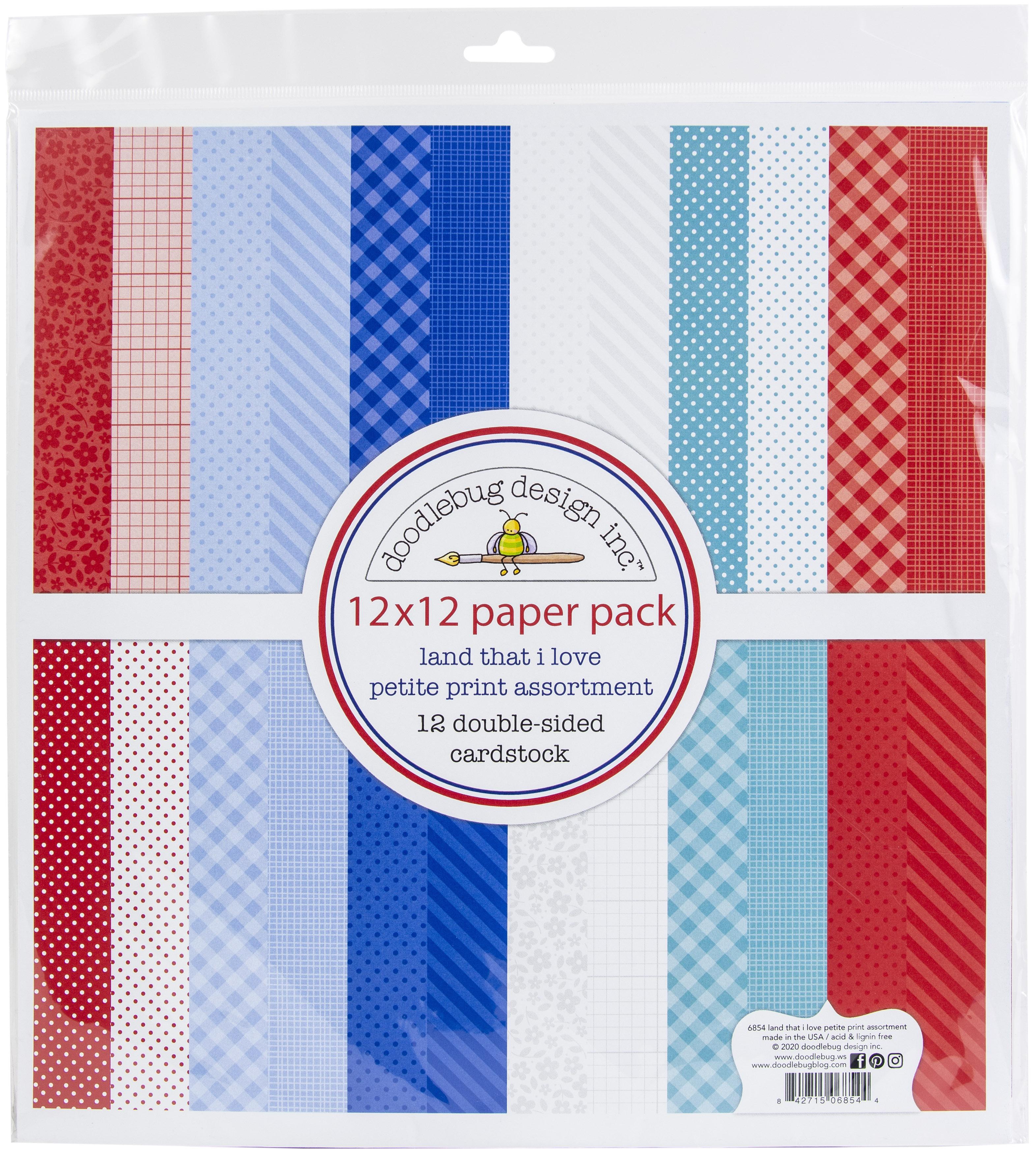 Doodlebug Petite Prints Double-Sided Cardstock 12X12 12/Pk-Land That I Love, 1...