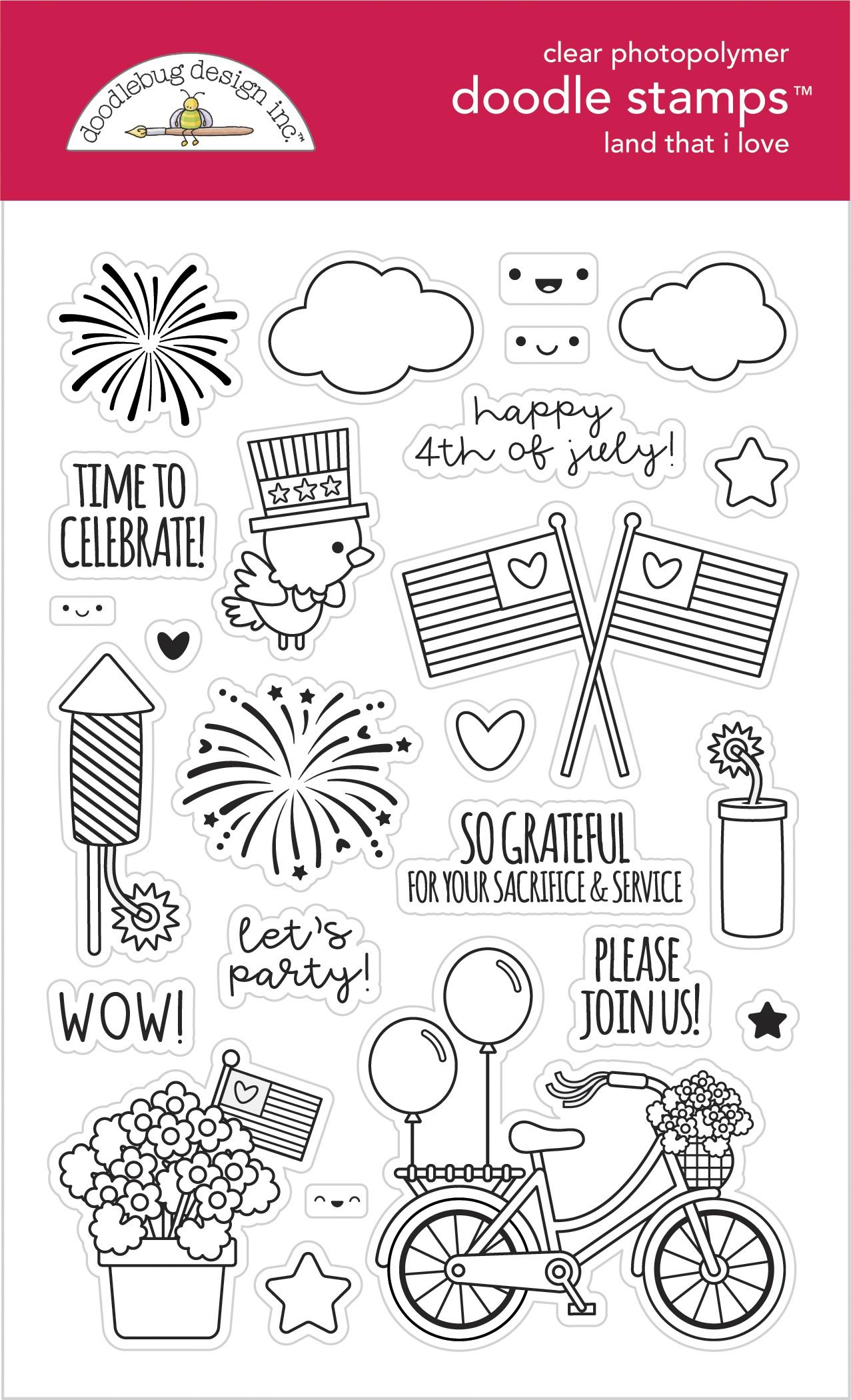 Doodlebug Clear Doodle Stamps-Land That I Love