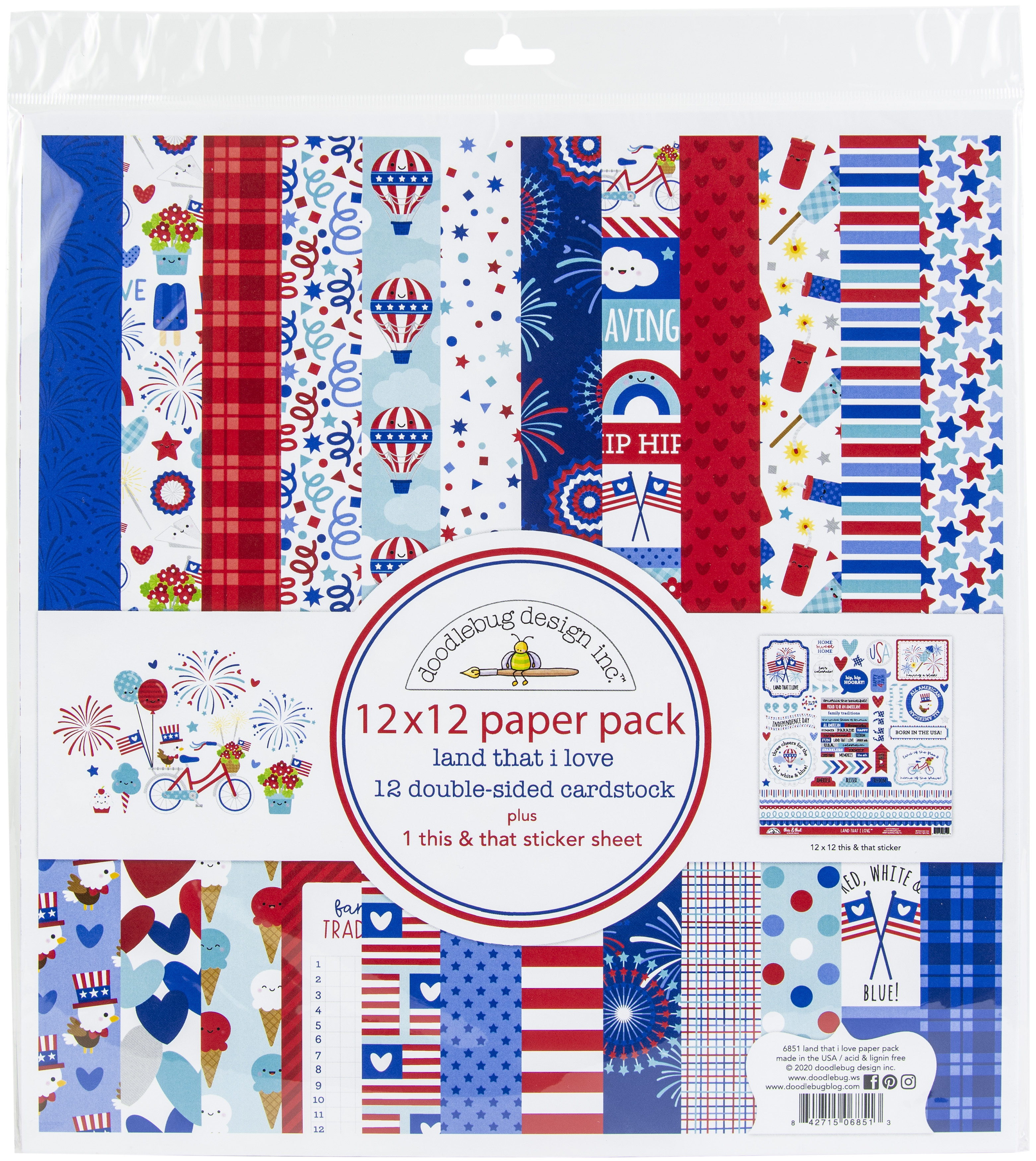 Doodlebug Double-Sided Paper Pack 12X12 12/Pkg-Land That I Love