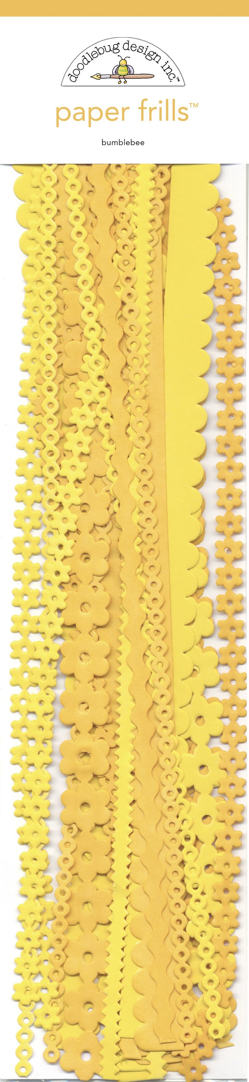 Doodlebug Paper Frills 12 Strips-Bumblebee