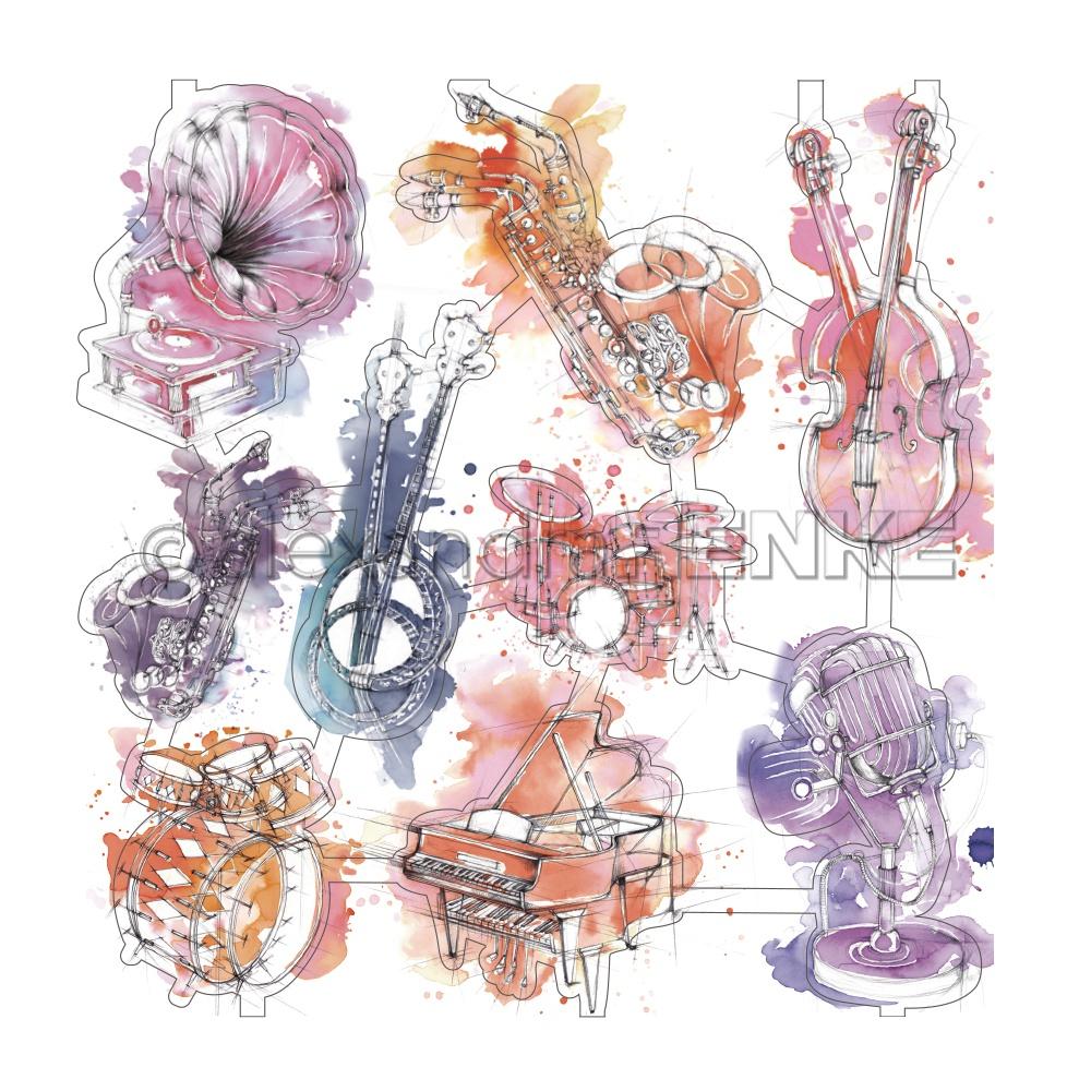 Alexandra Renke Music Paper Laser-Cuts-Colorful Instruments