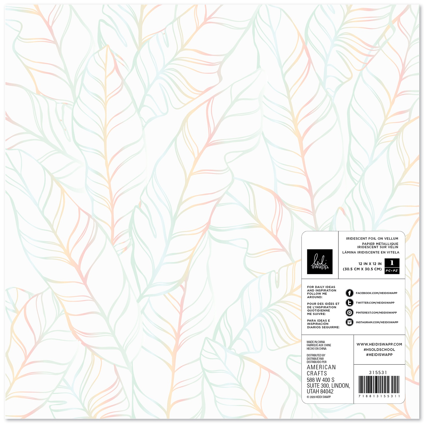Heidi Swapp Old School Specialty Paper 12X12-Vellum W/Iridescent Foil