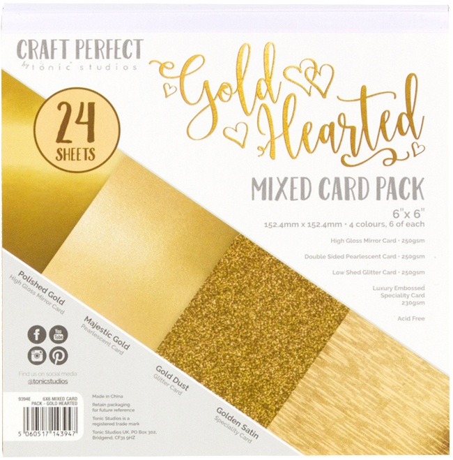 Gold Hearted Mixed Card Pack 6X6 24/Pkg