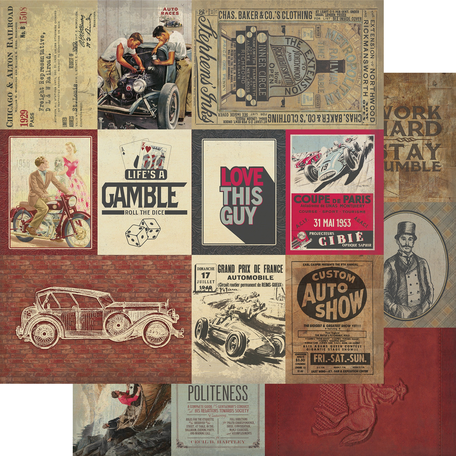 Manly #7 3X4 & 4X6 Cut-Apart Cards Paper